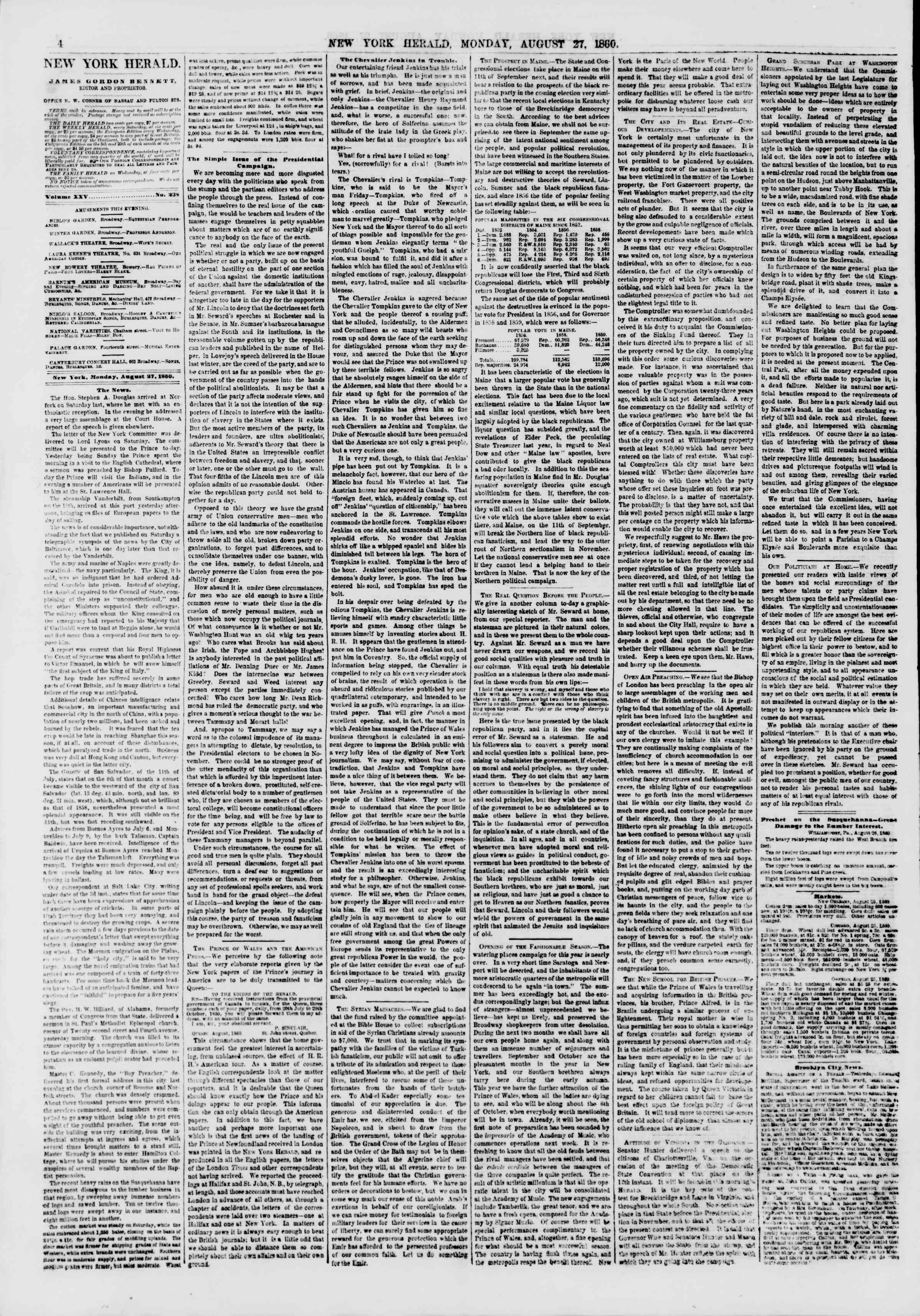Newspaper of The New York Herald dated August 27, 1860 Page 4