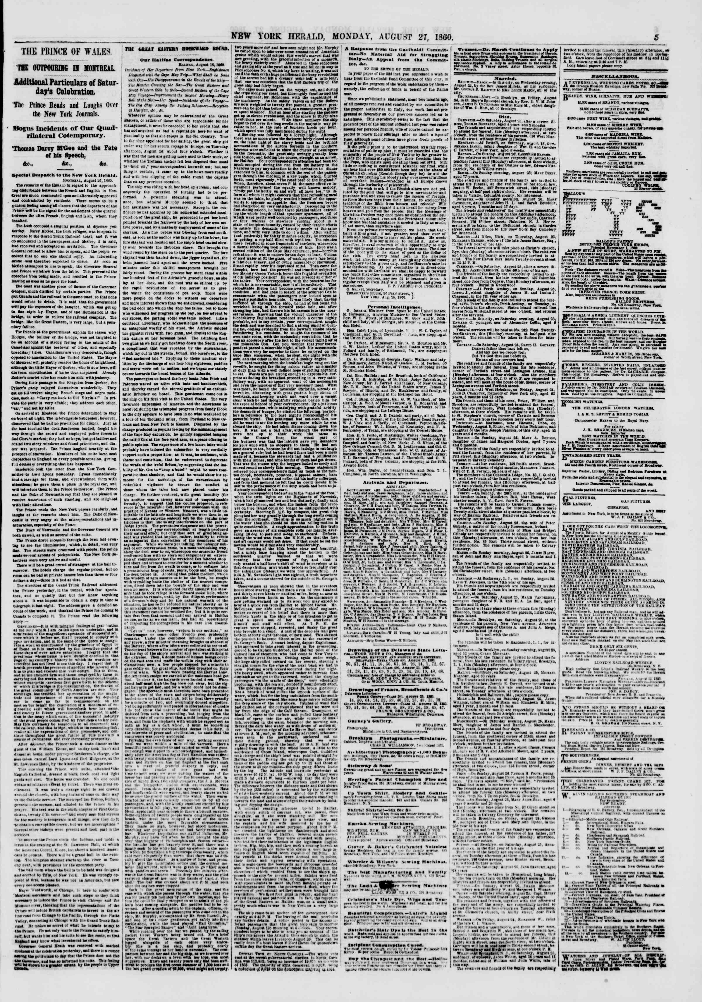 Newspaper of The New York Herald dated August 27, 1860 Page 5