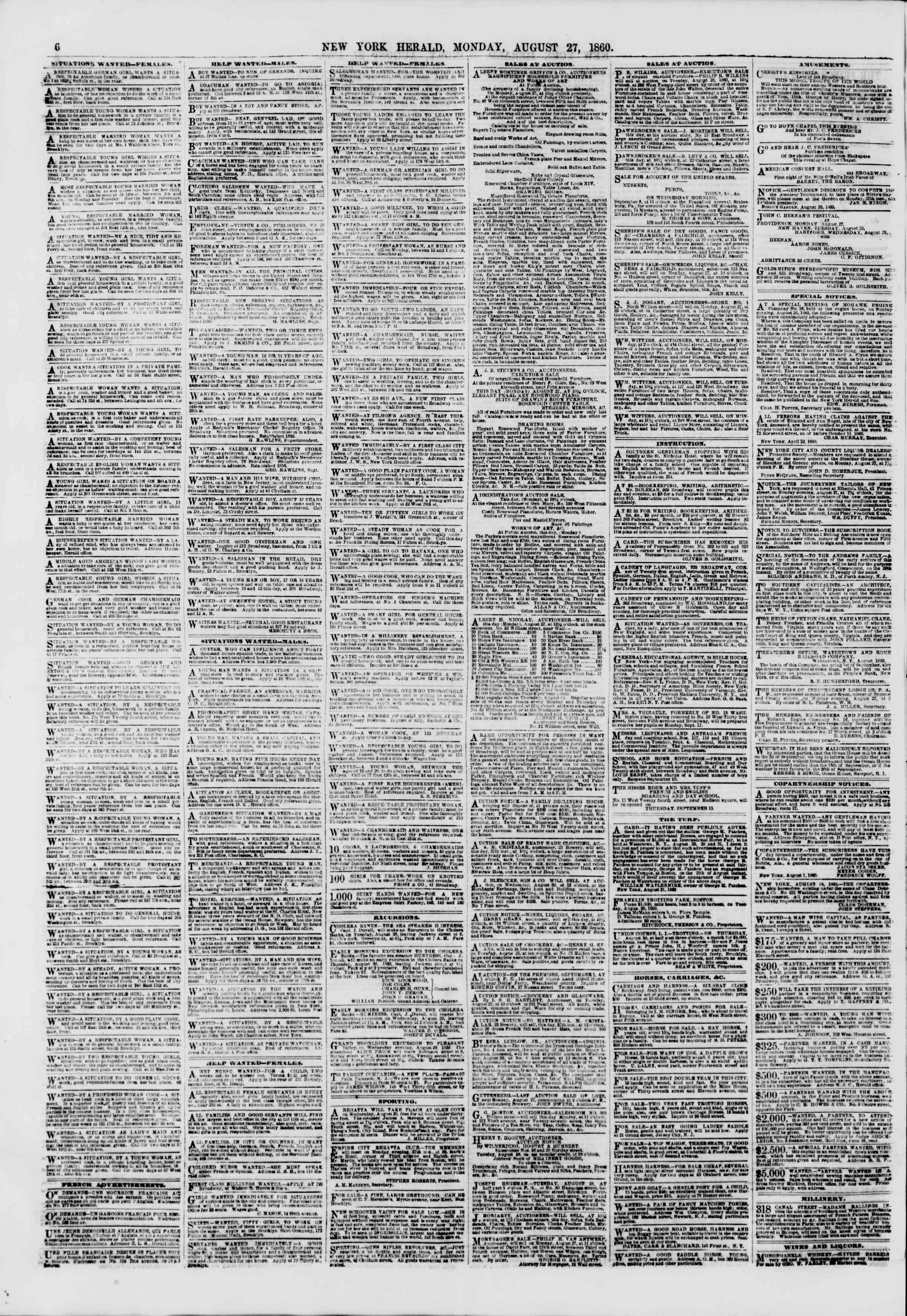 Newspaper of The New York Herald dated August 27, 1860 Page 6