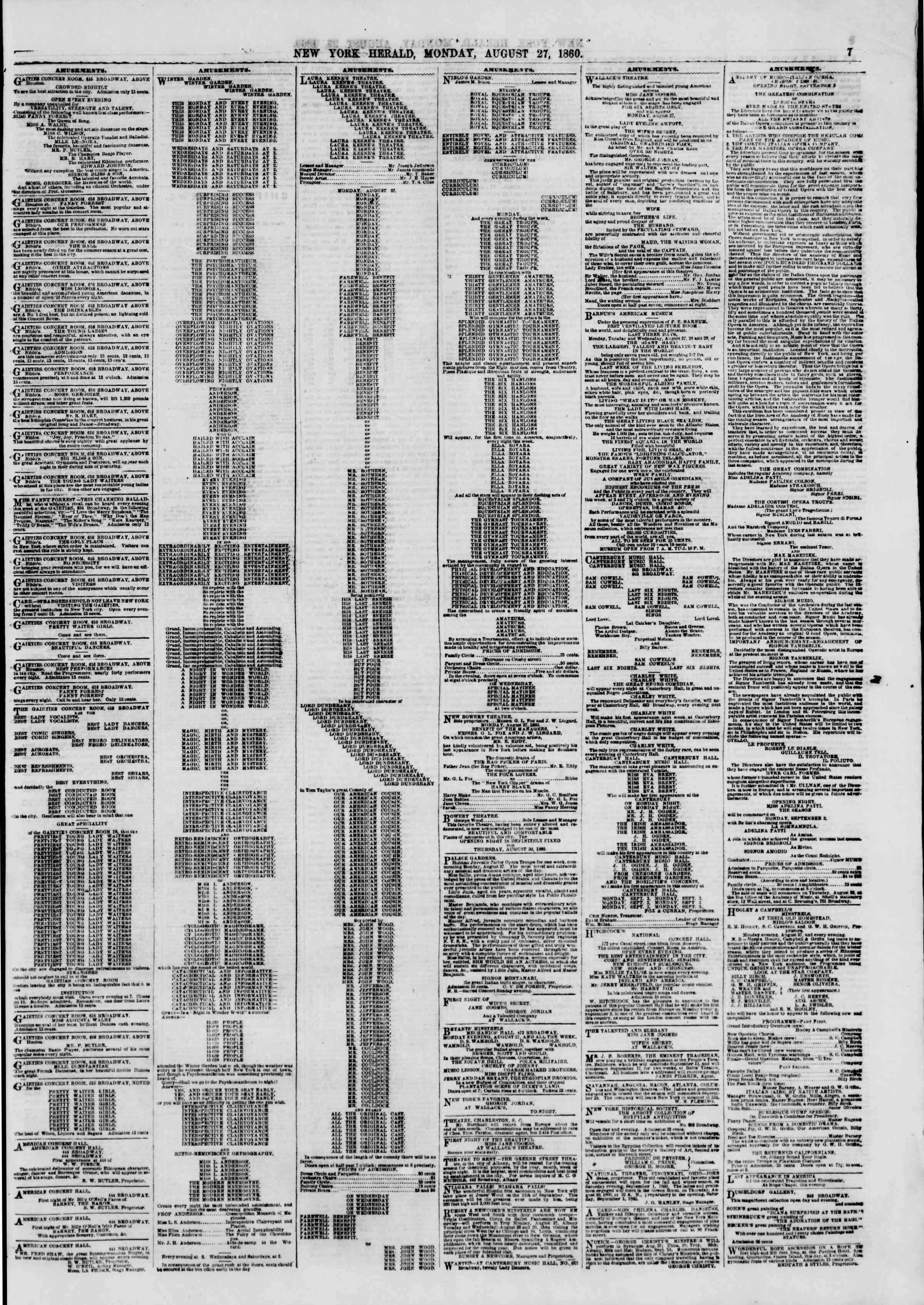 Newspaper of The New York Herald dated August 27, 1860 Page 7