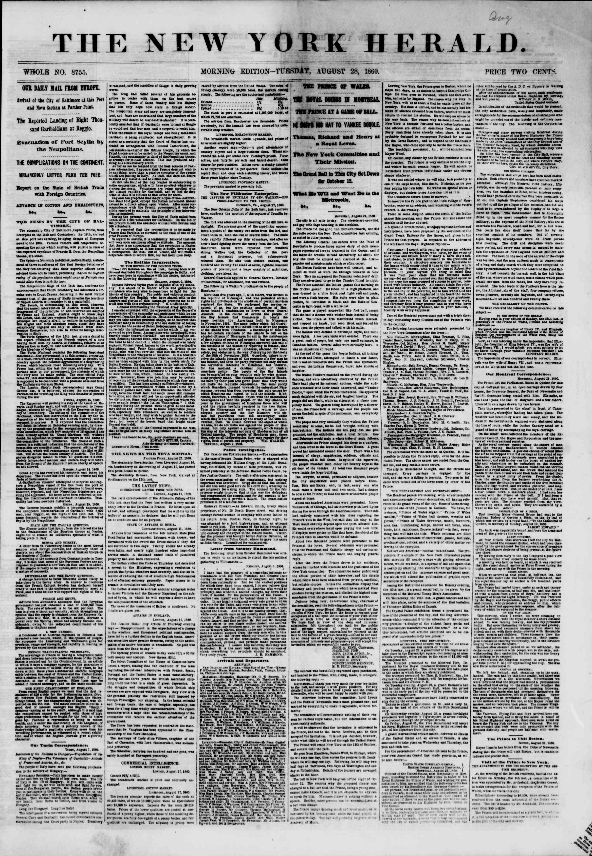 Newspaper of The New York Herald dated August 28, 1860 Page 1