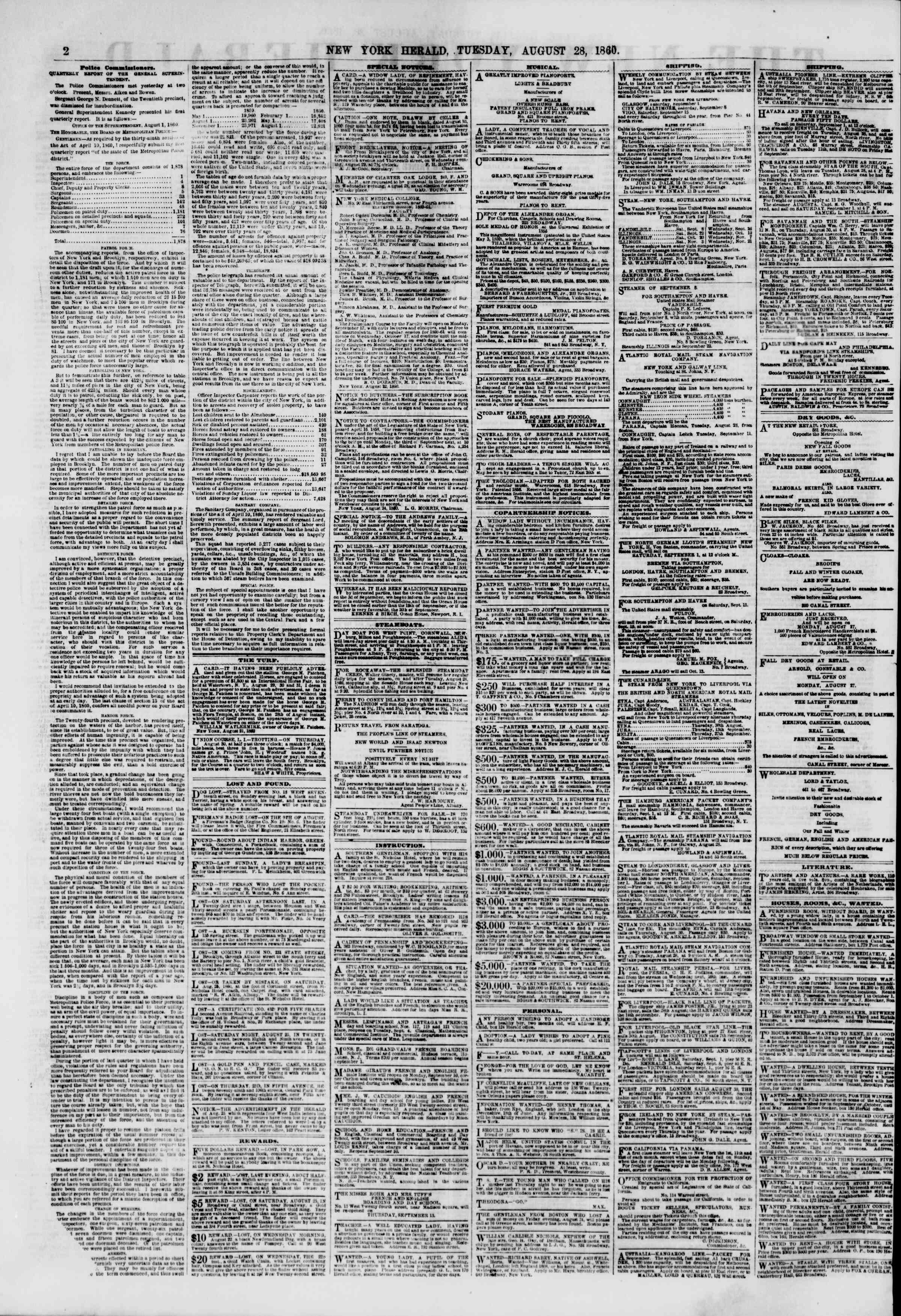 Newspaper of The New York Herald dated August 28, 1860 Page 2