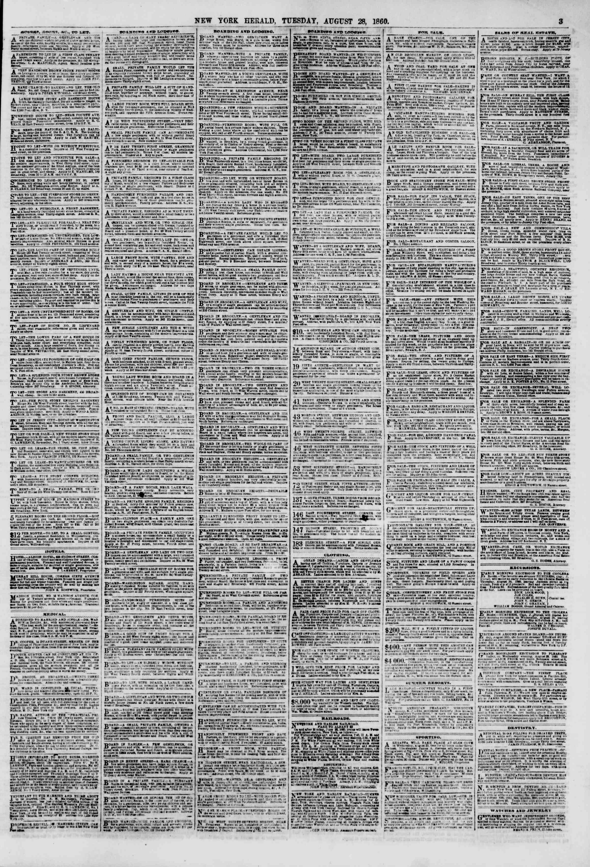 Newspaper of The New York Herald dated August 28, 1860 Page 3