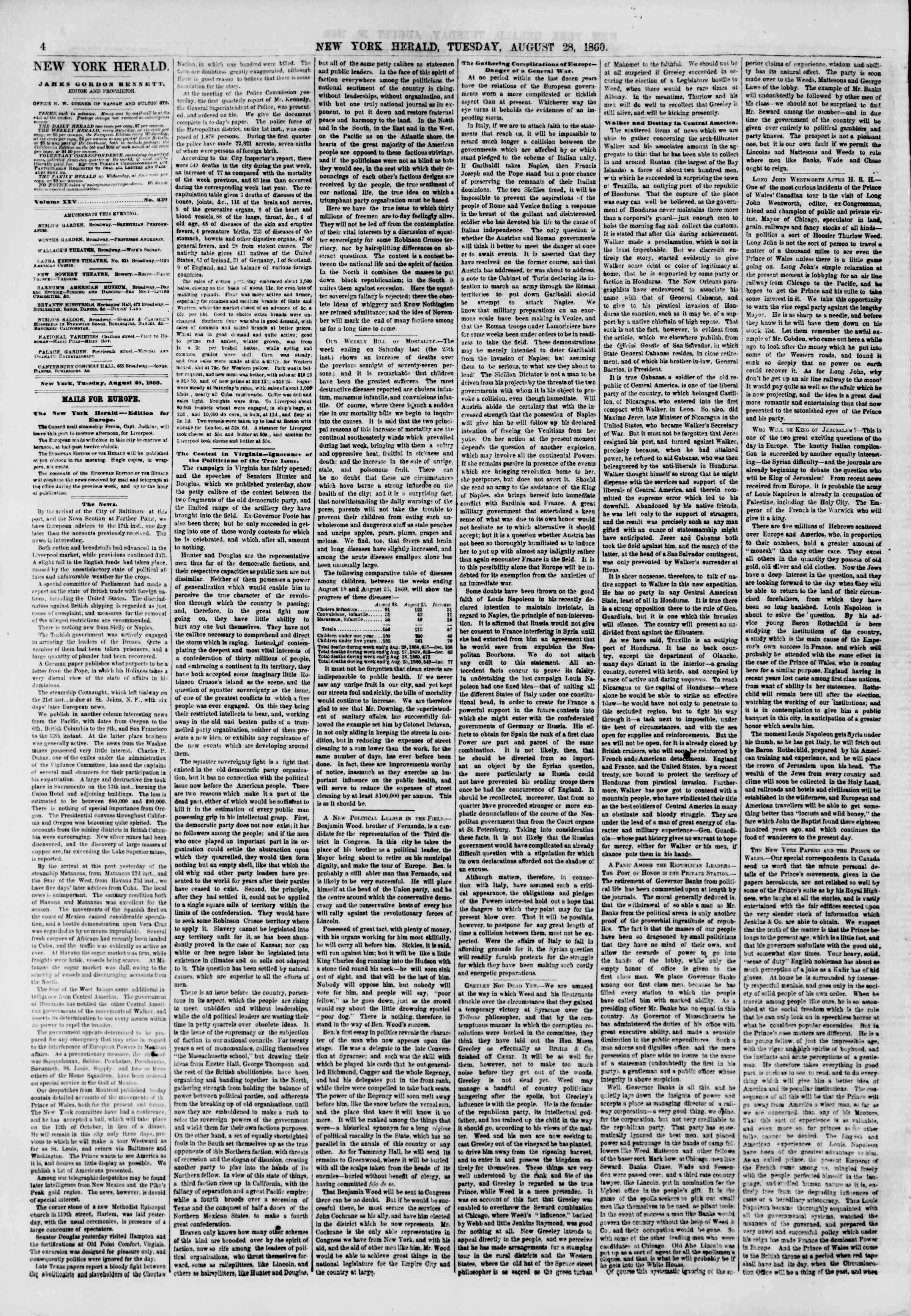 Newspaper of The New York Herald dated August 28, 1860 Page 4
