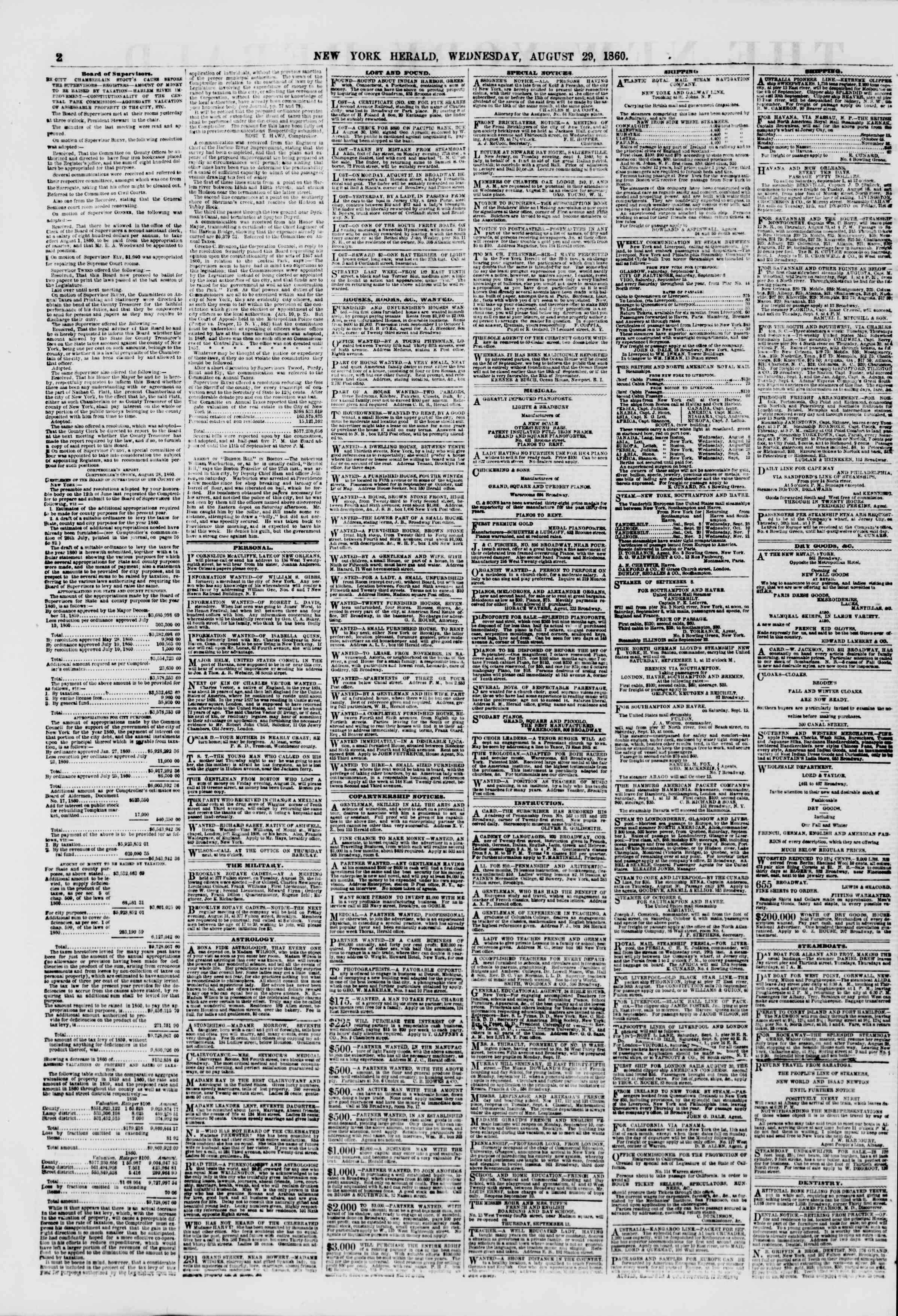 29 Ağustos 1860 tarihli The New York Herald Gazetesi Sayfa 2