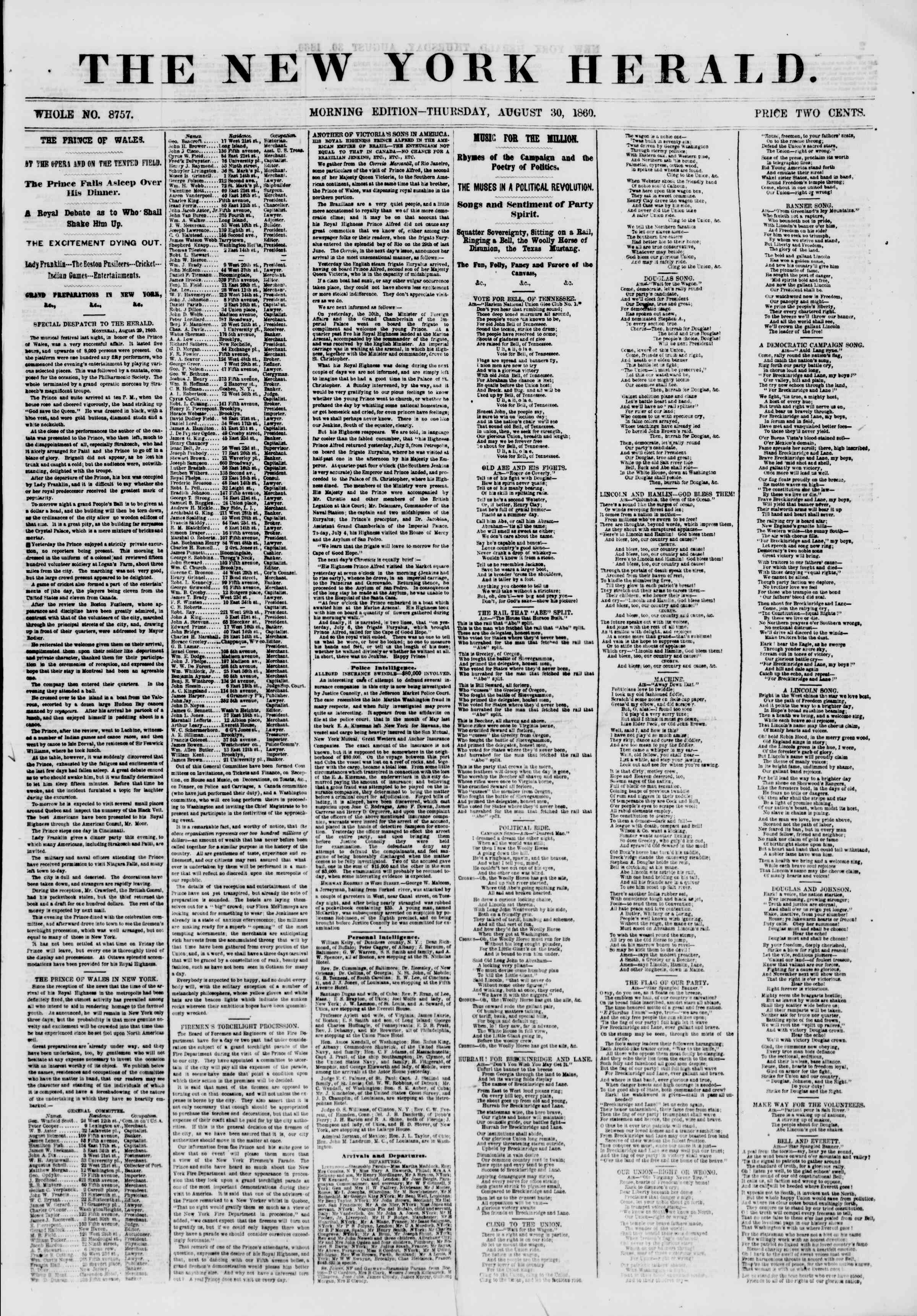 Newspaper of The New York Herald dated August 30, 1860 Page 1