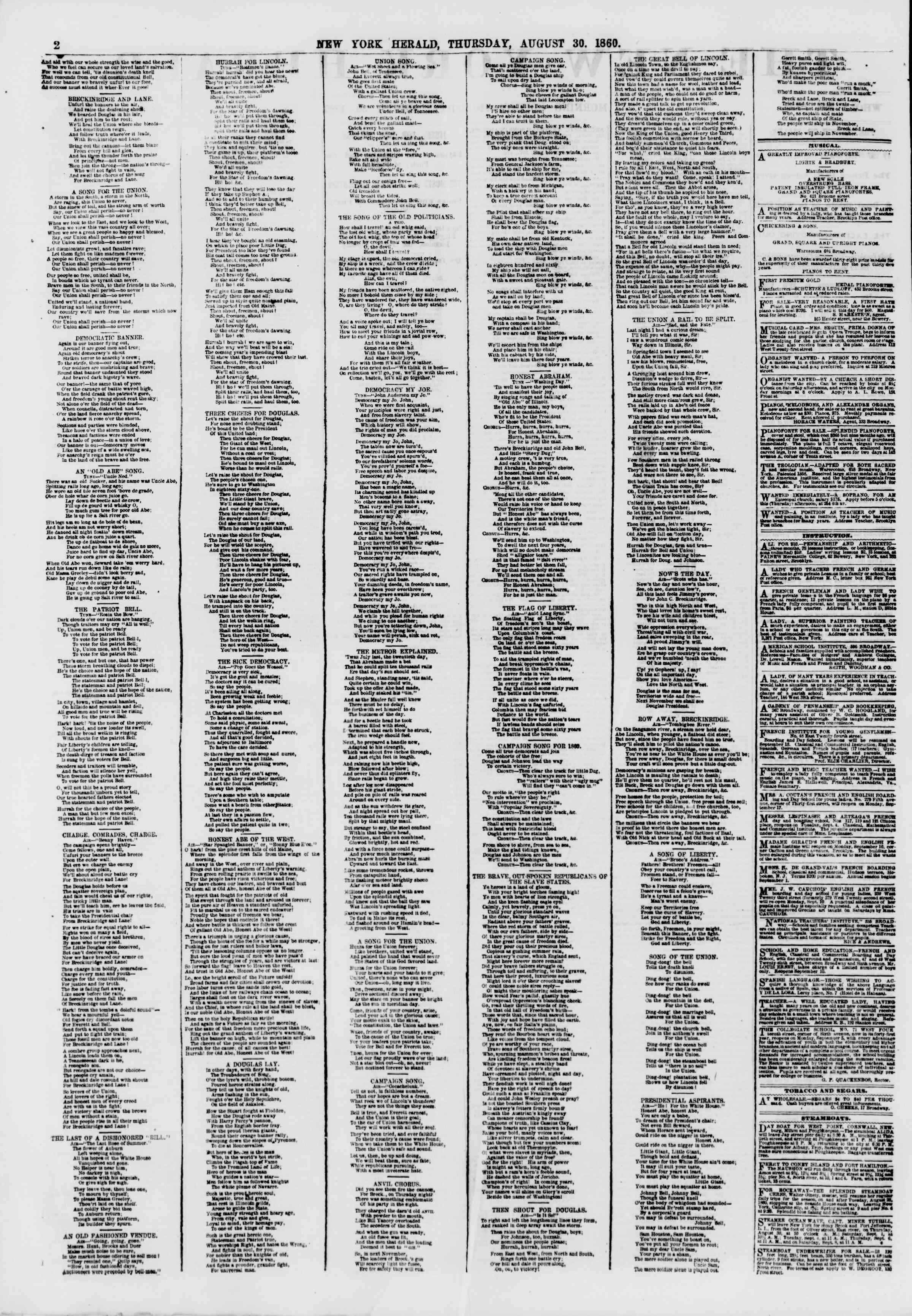 Newspaper of The New York Herald dated August 30, 1860 Page 2