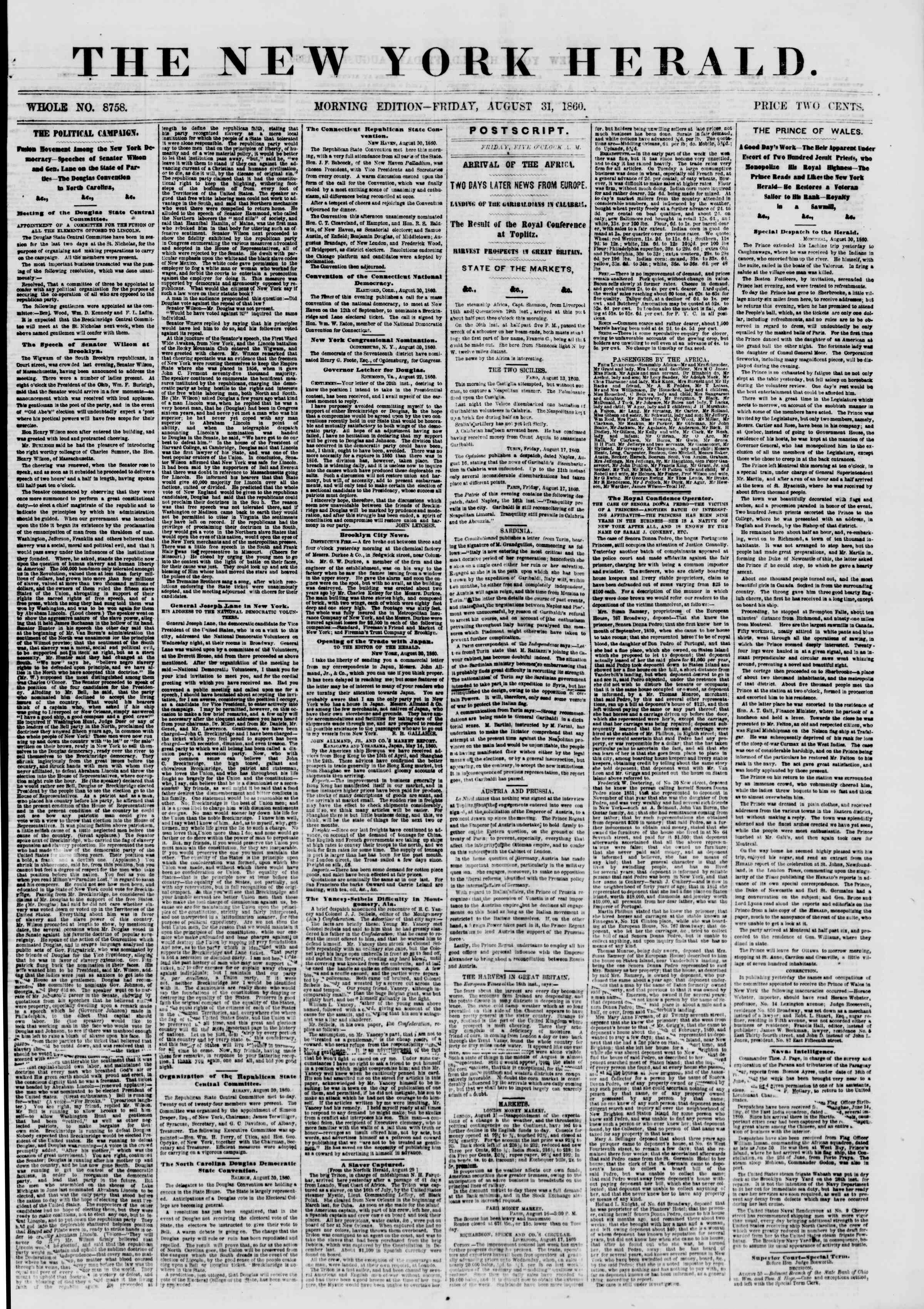 Newspaper of The New York Herald dated August 31, 1860 Page 1