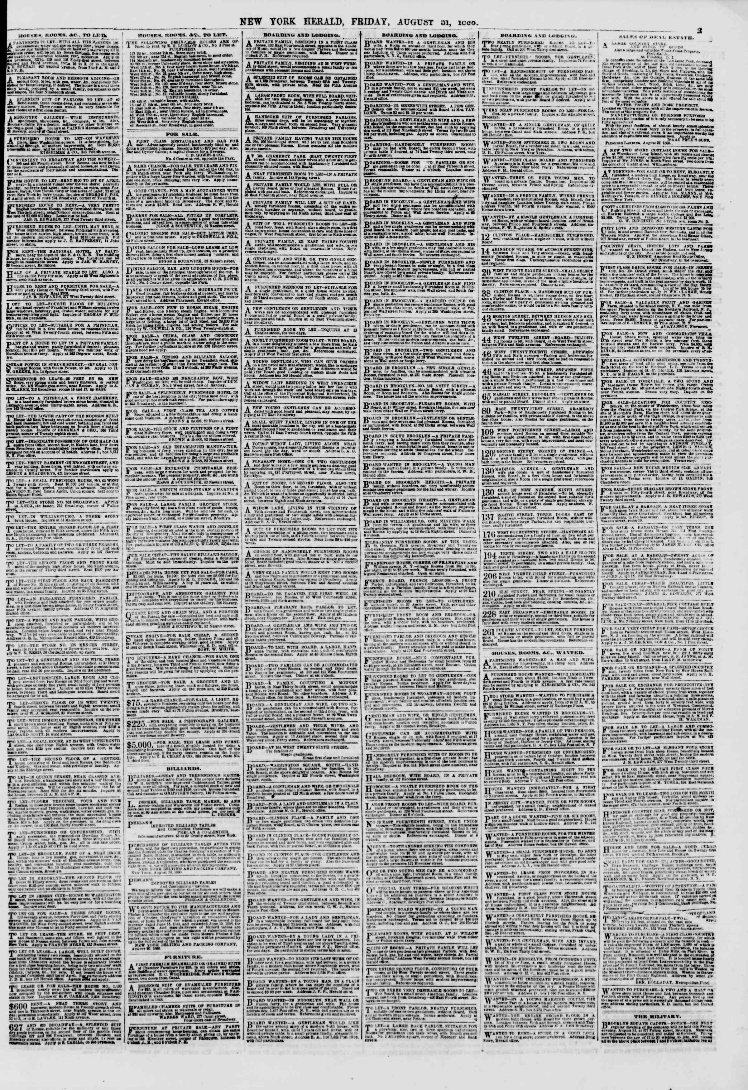 Newspaper of The New York Herald dated August 31, 1860 Page 3