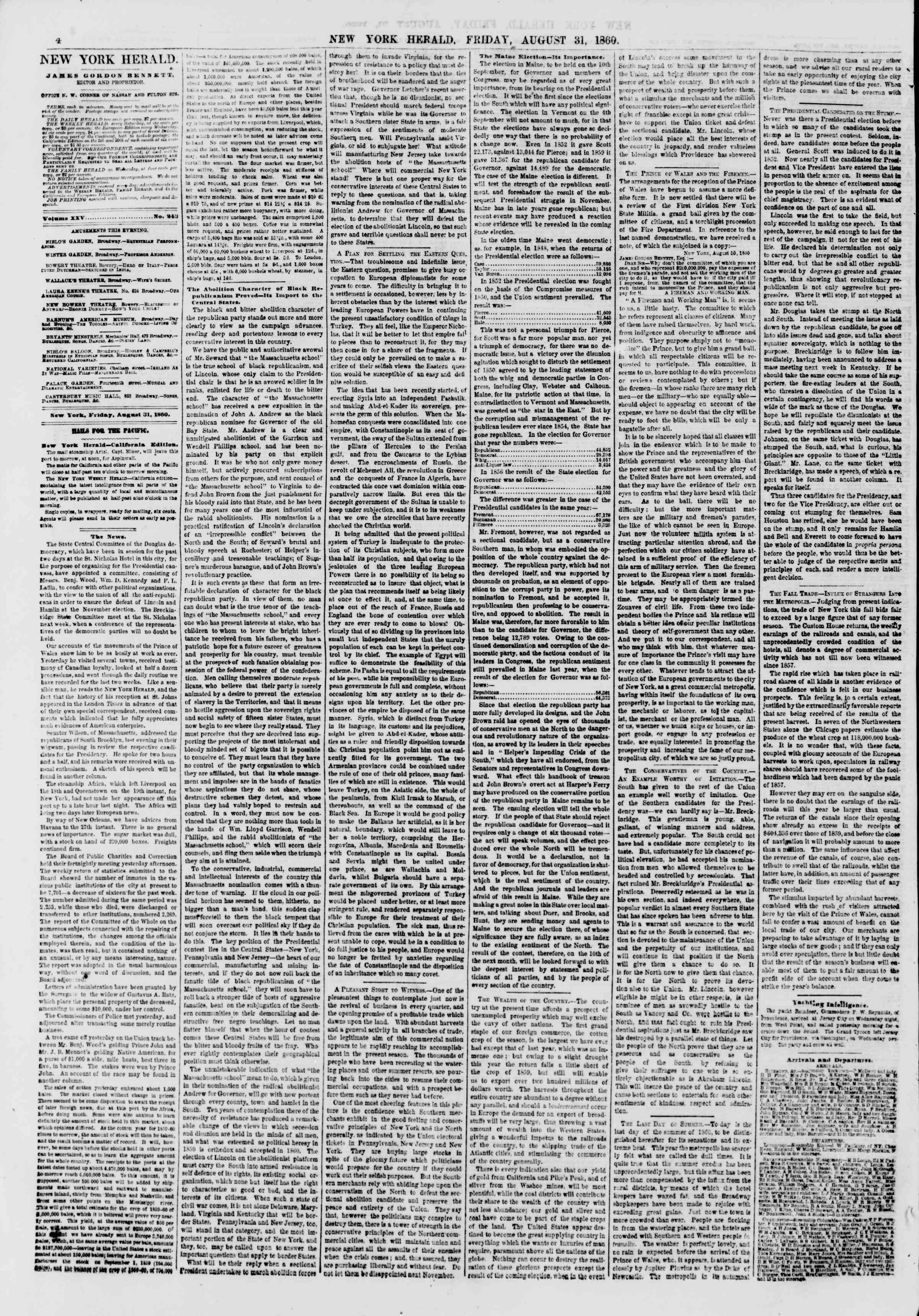 Newspaper of The New York Herald dated August 31, 1860 Page 4