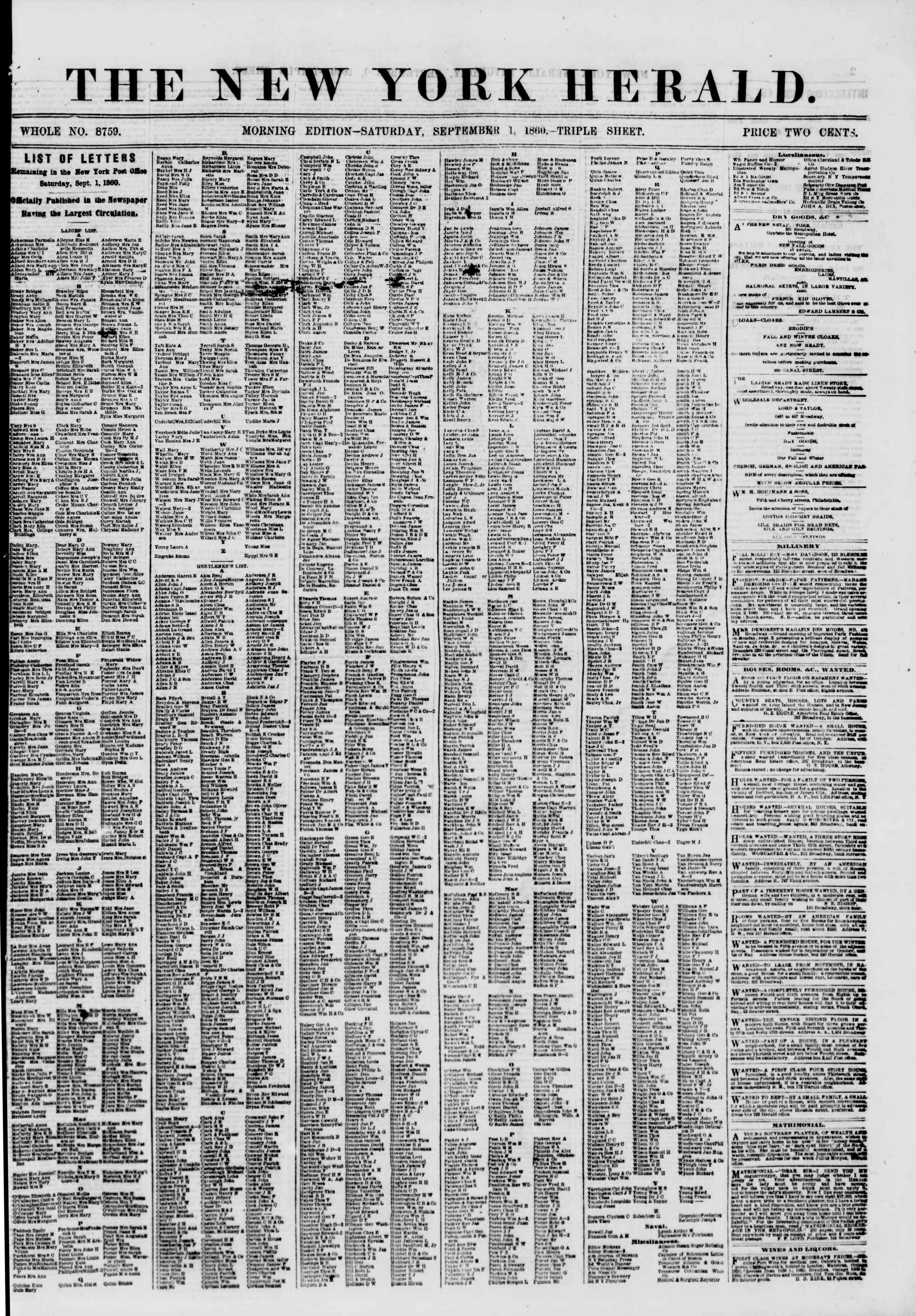 Newspaper of The New York Herald dated September 1, 1860 Page 1