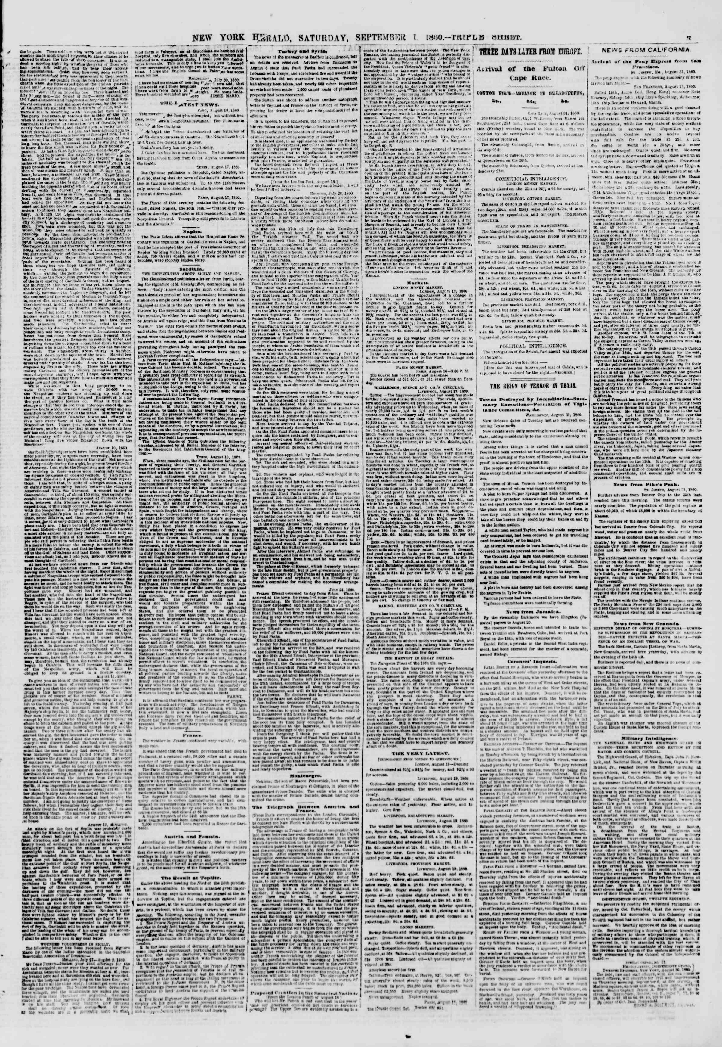 1 Eylül 1860 tarihli The New York Herald Gazetesi Sayfa 3