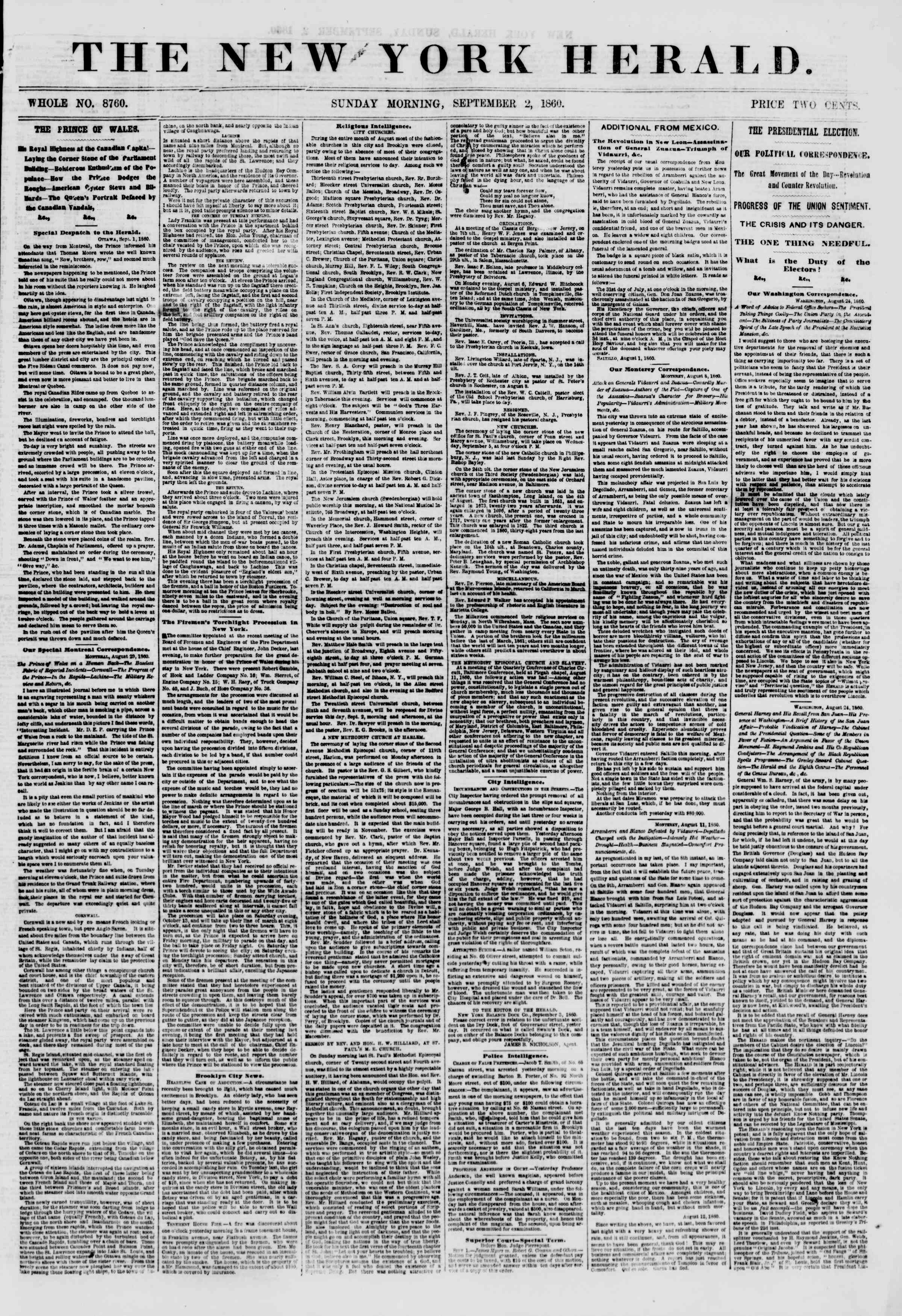 Newspaper of The New York Herald dated September 2, 1860 Page 1