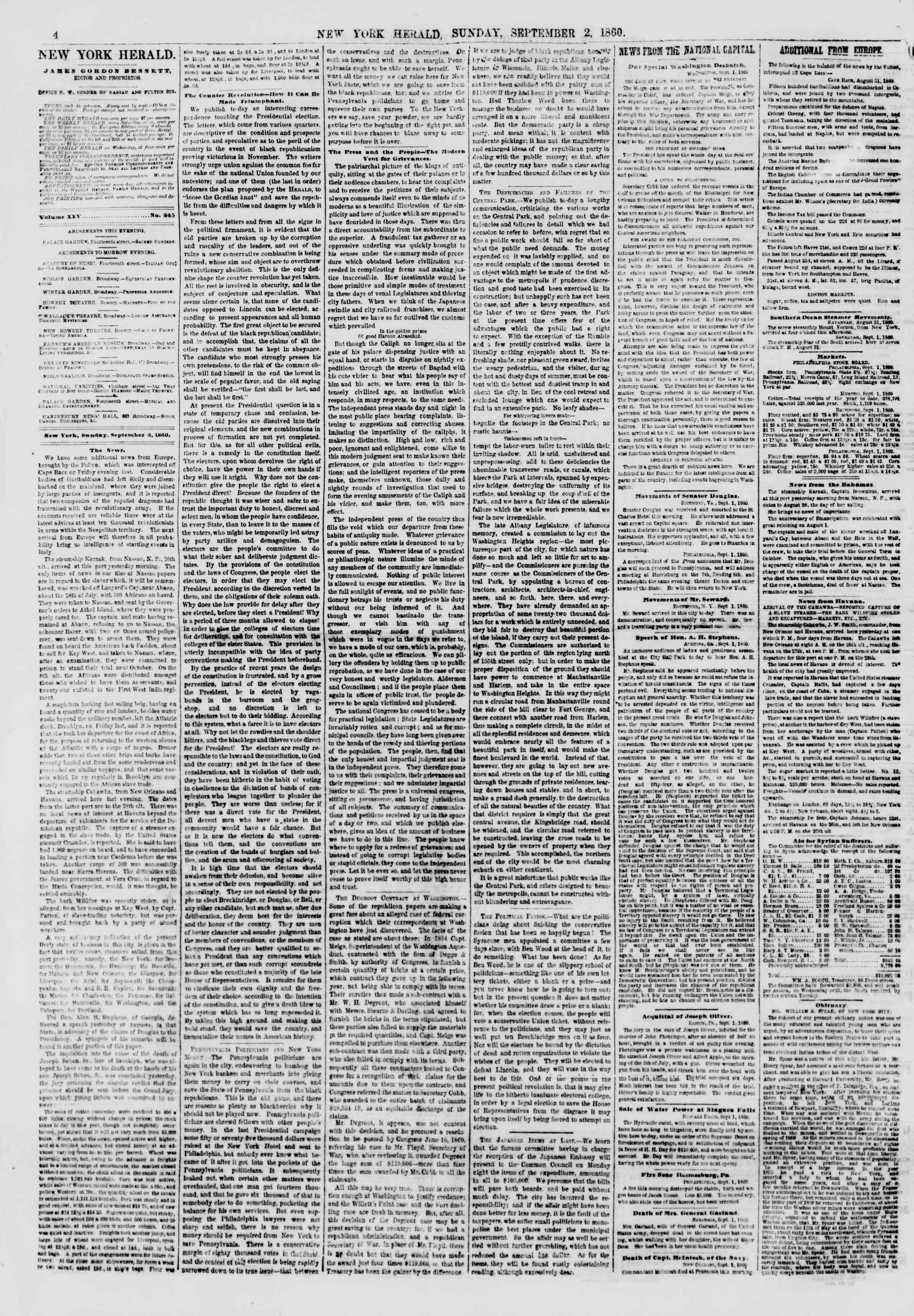 Newspaper of The New York Herald dated September 2, 1860 Page 4