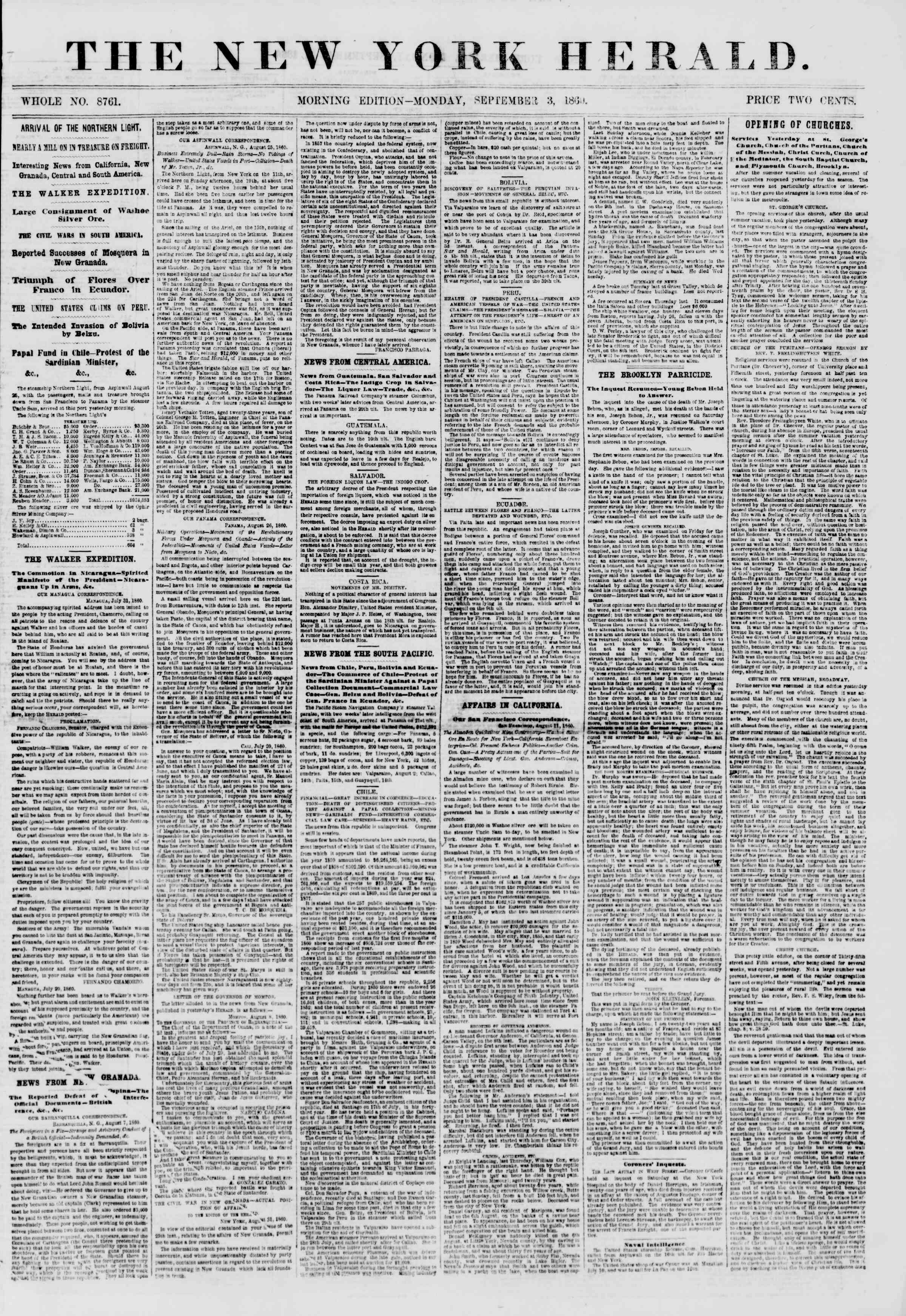 Newspaper of The New York Herald dated September 3, 1860 Page 1