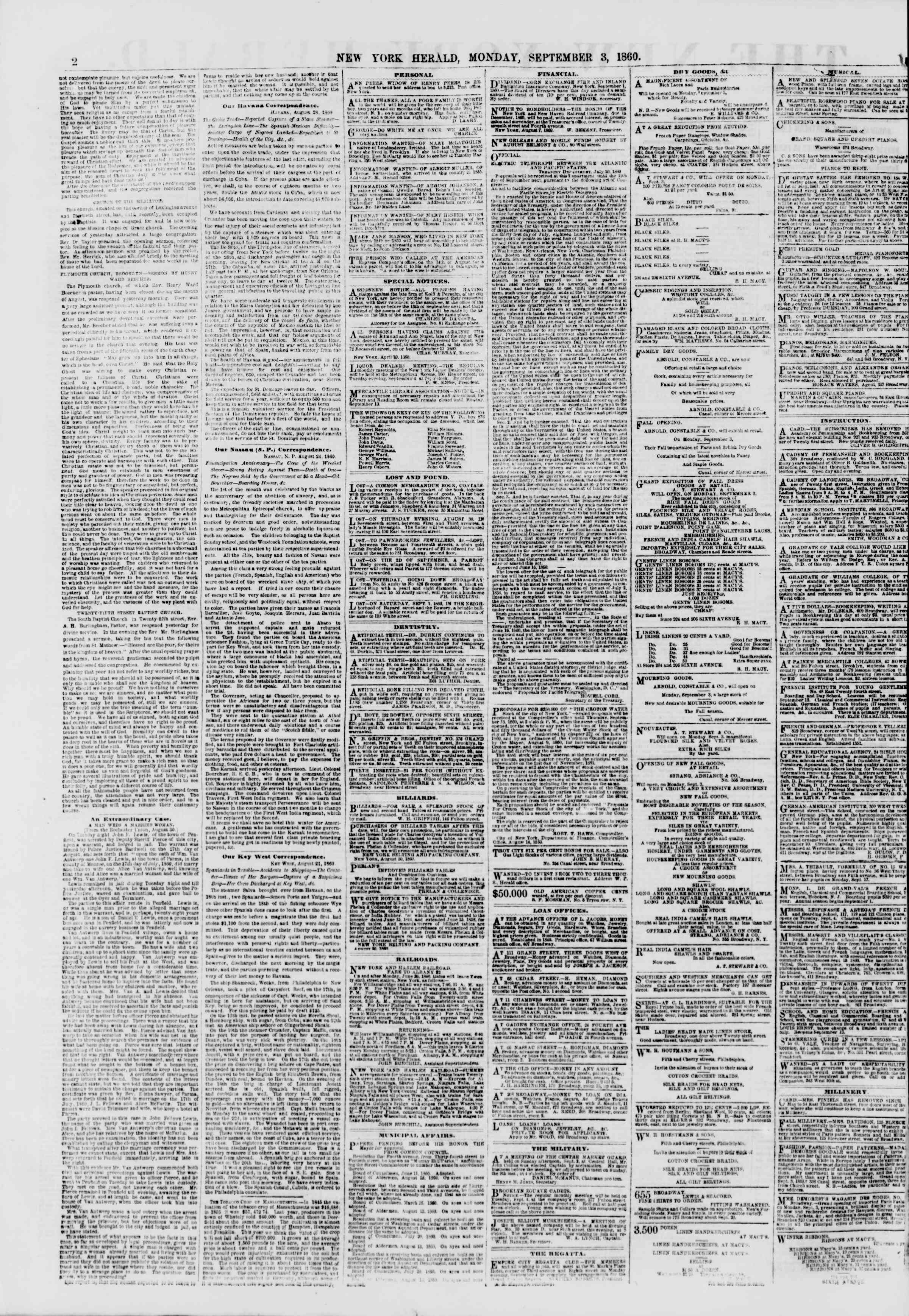 Newspaper of The New York Herald dated September 3, 1860 Page 2