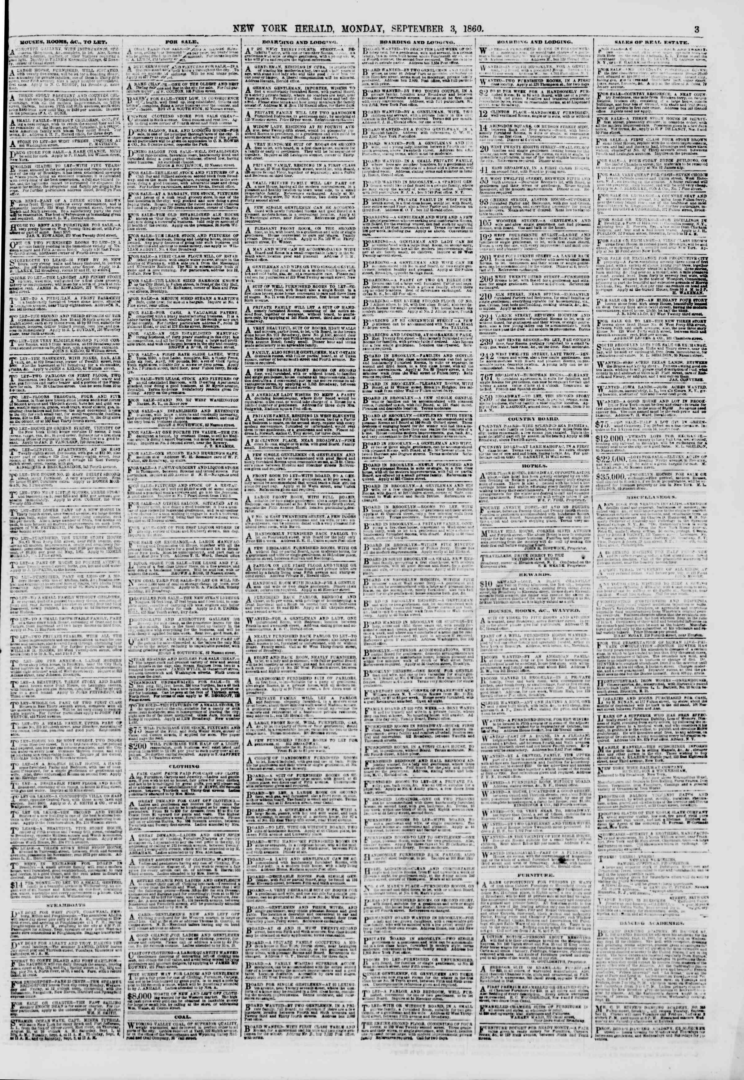 3 Eylül 1860 tarihli The New York Herald Gazetesi Sayfa 3