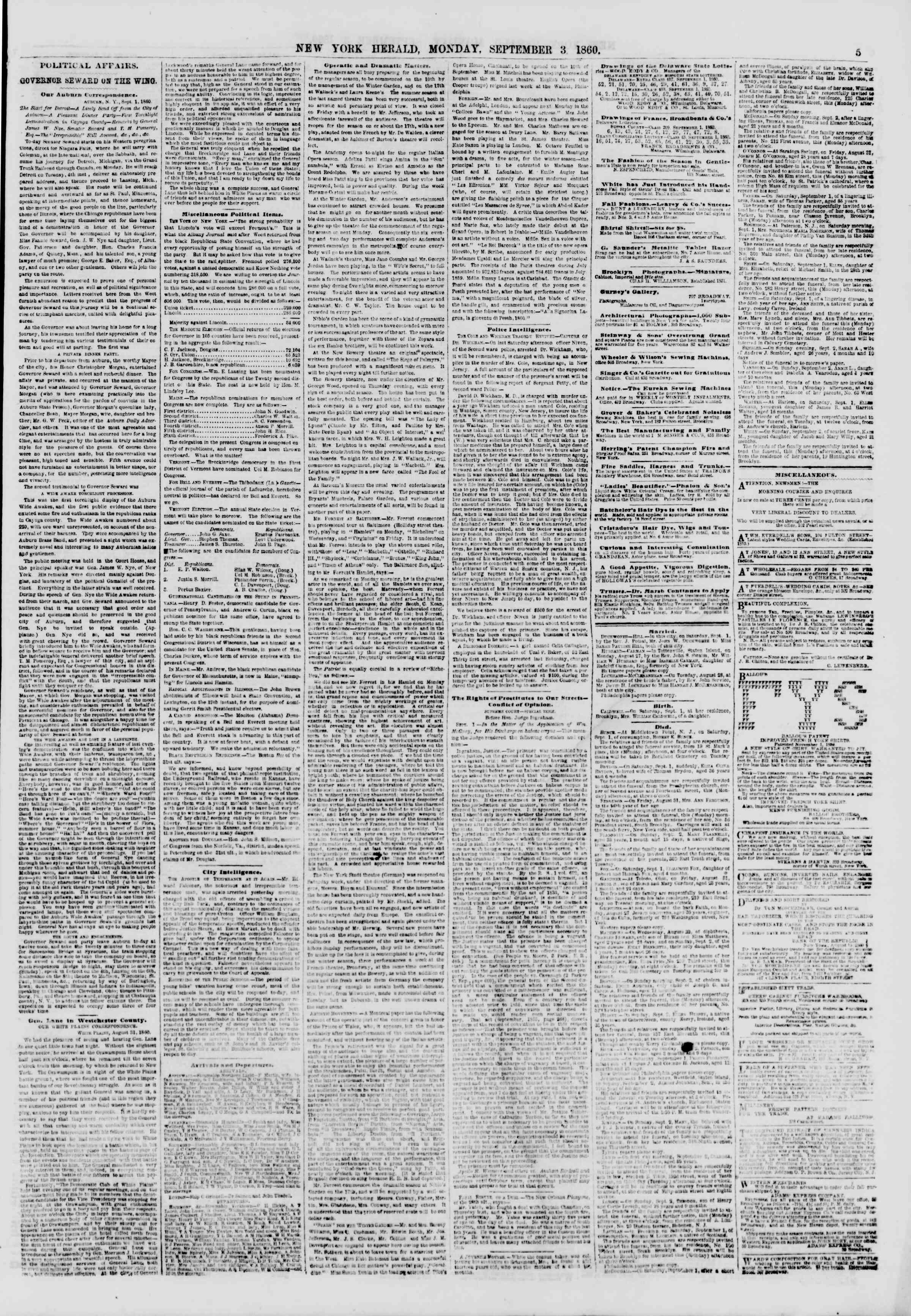 3 Eylül 1860 tarihli The New York Herald Gazetesi Sayfa 5