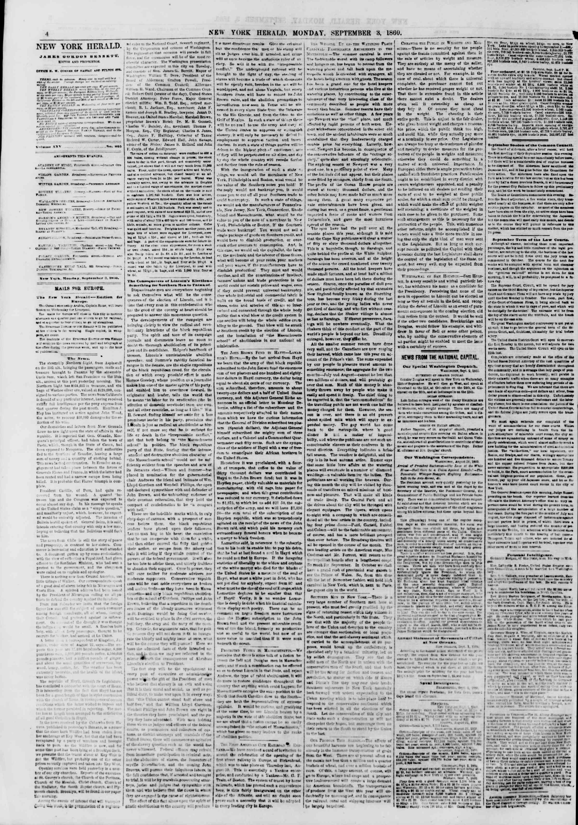 Newspaper of The New York Herald dated September 3, 1860 Page 6