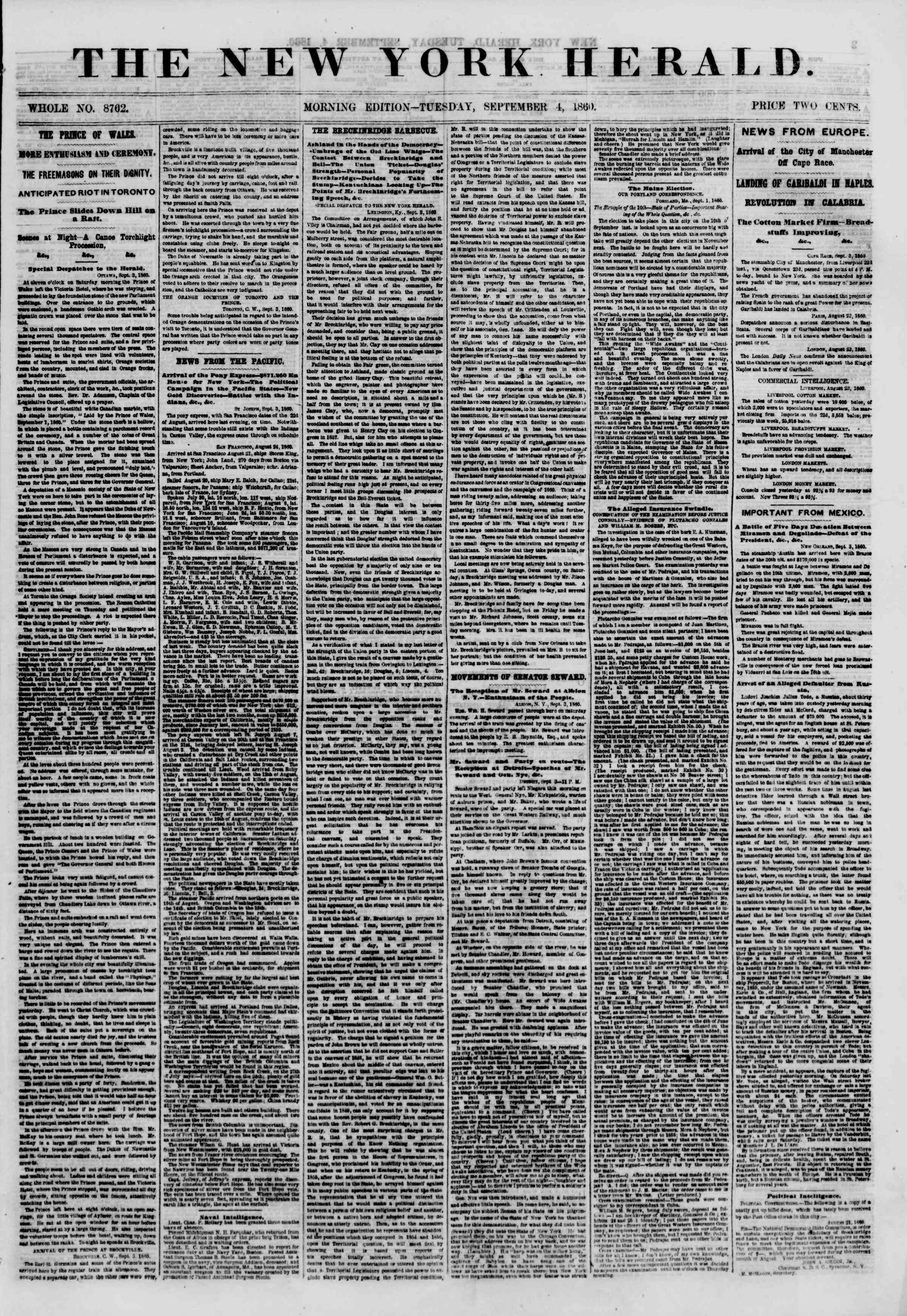 Newspaper of The New York Herald dated September 4, 1860 Page 1