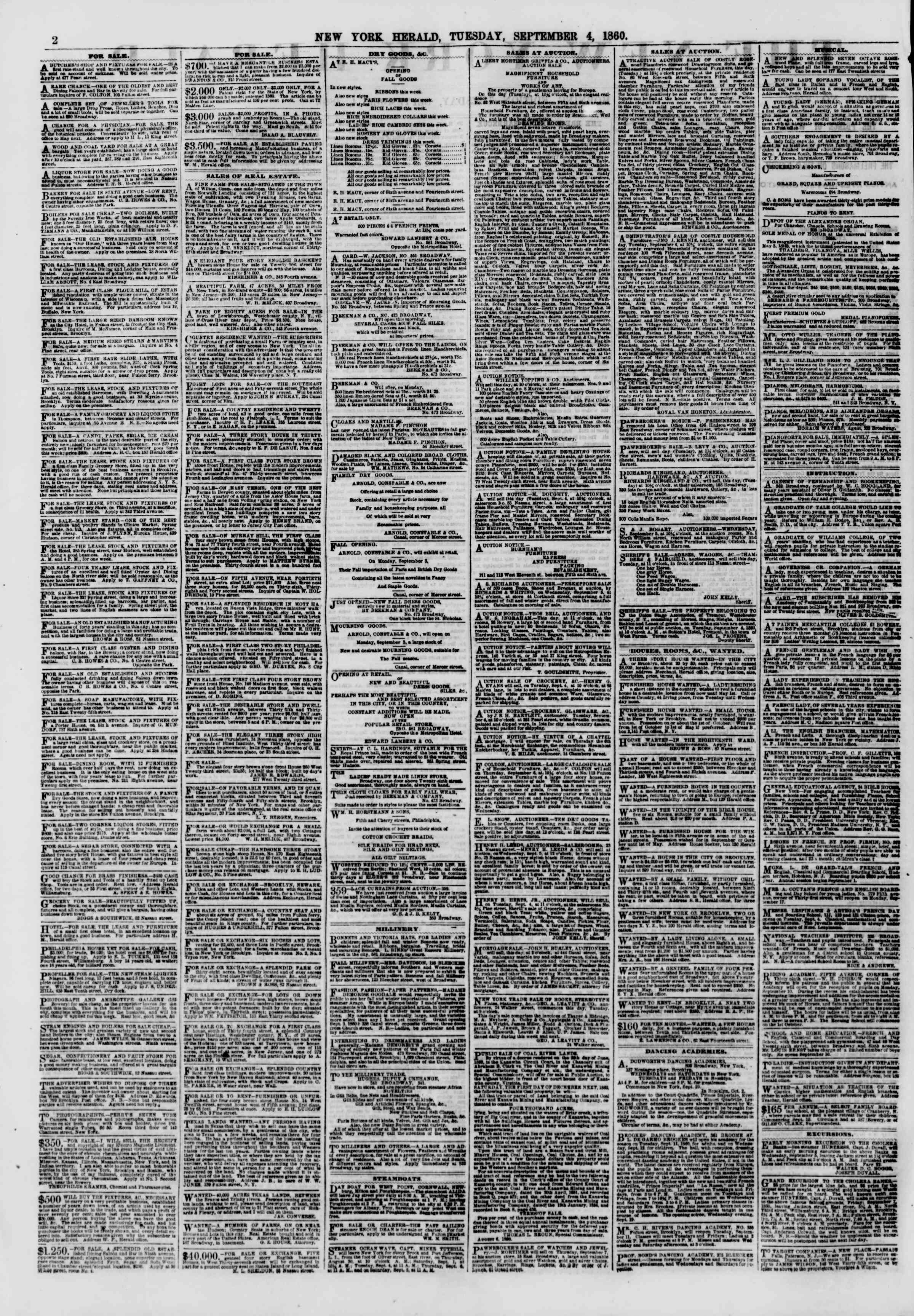 Newspaper of The New York Herald dated 4 Eylül 1860 Page 2