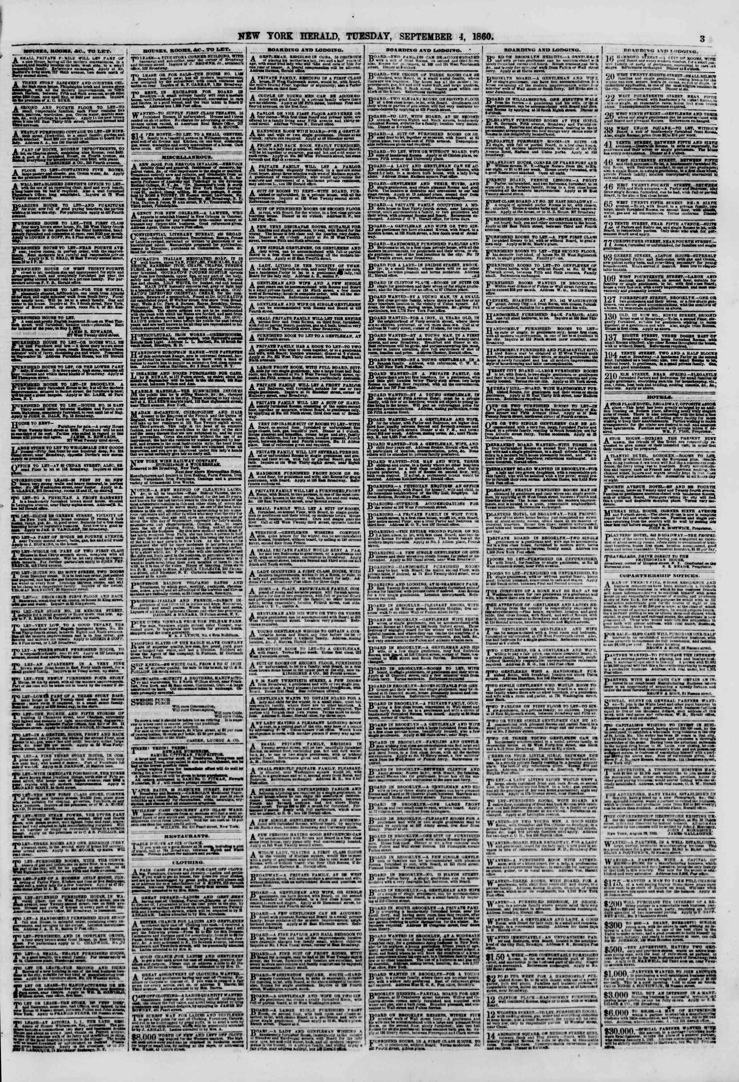 Newspaper of The New York Herald dated September 4, 1860 Page 3