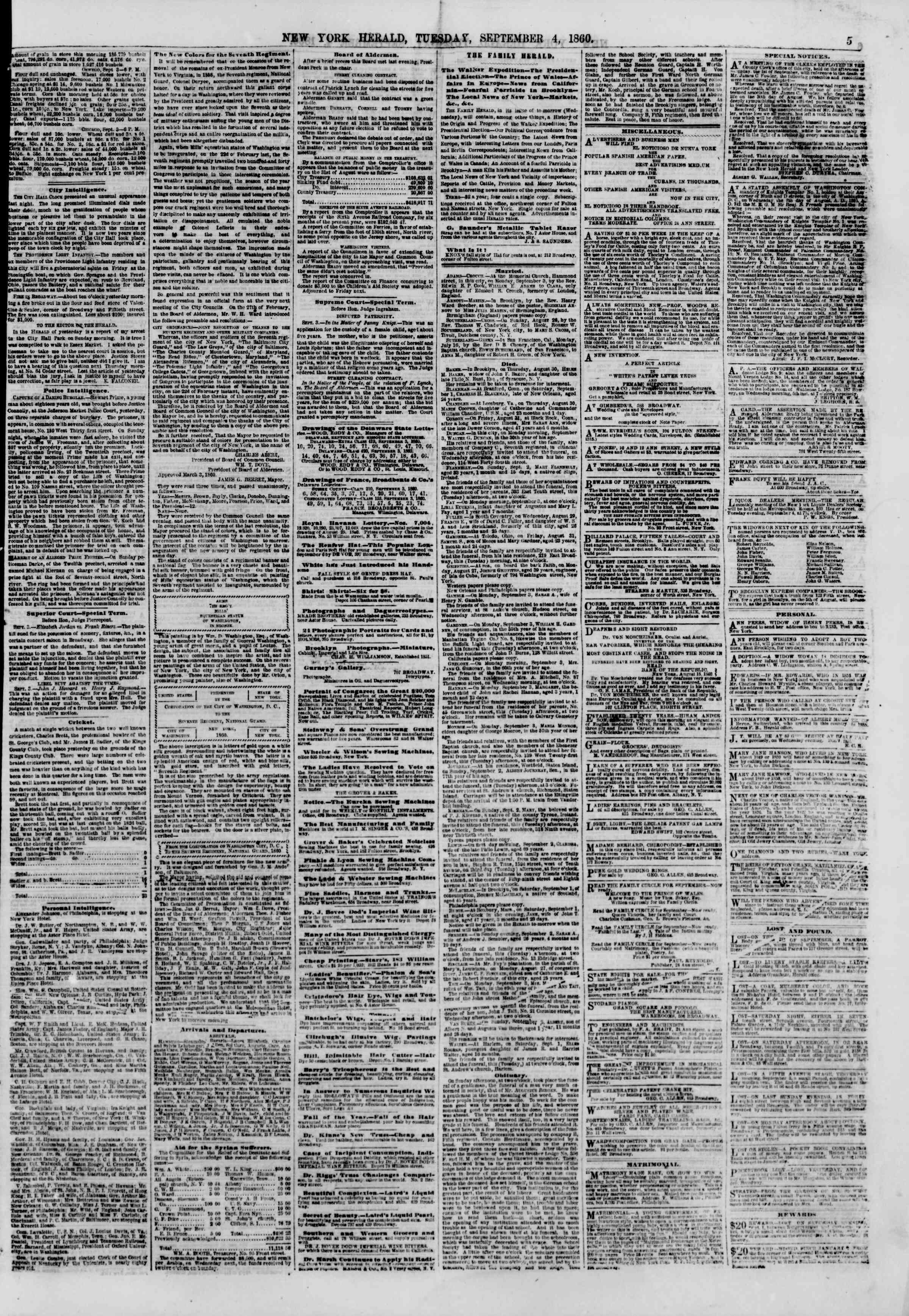 Newspaper of The New York Herald dated September 4, 1860 Page 5