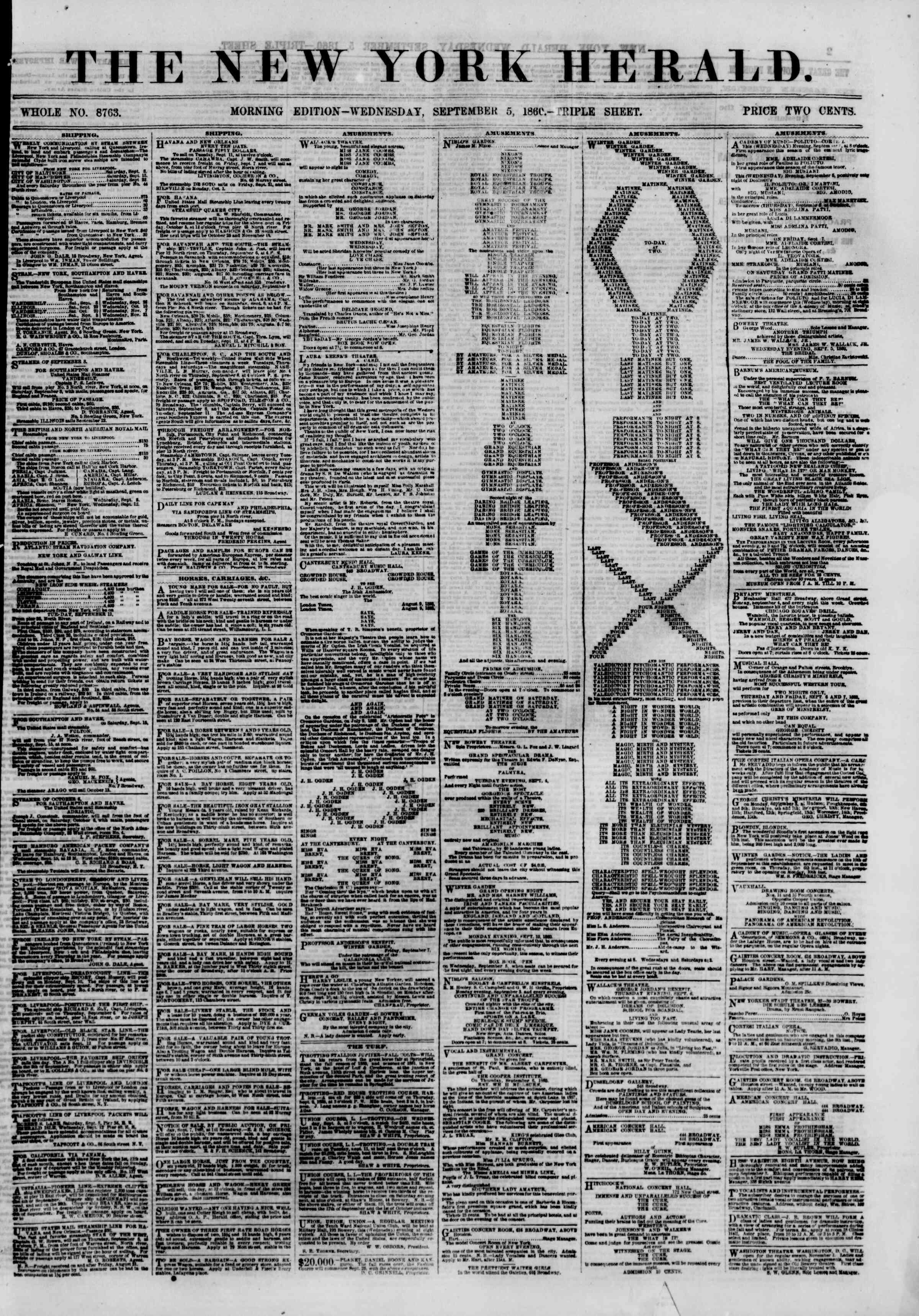 Newspaper of The New York Herald dated September 5, 1860 Page 1