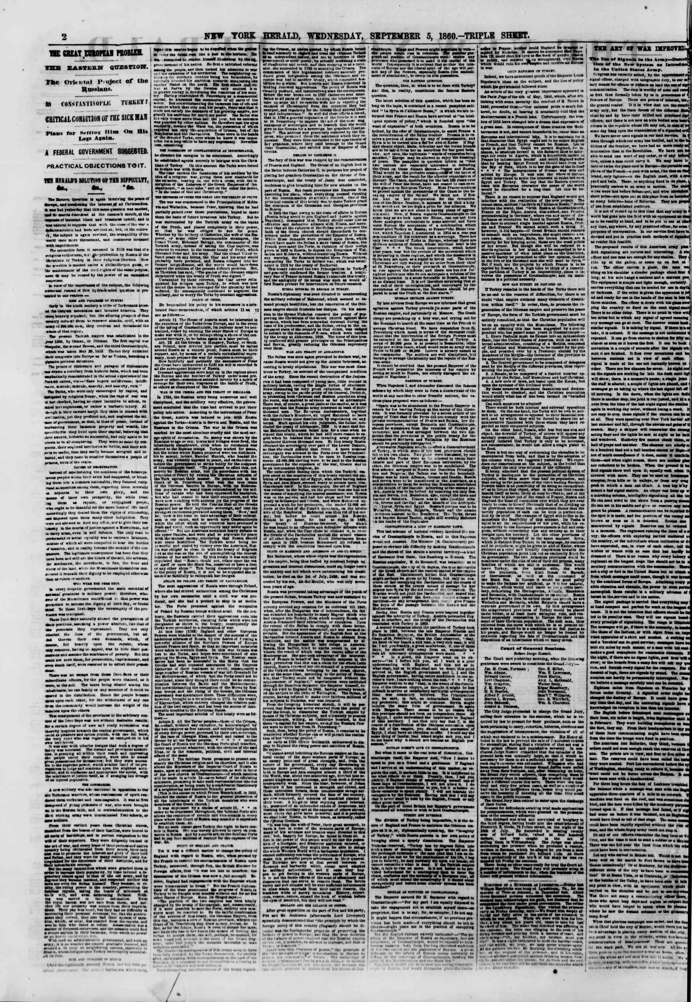 Newspaper of The New York Herald dated September 5, 1860 Page 2