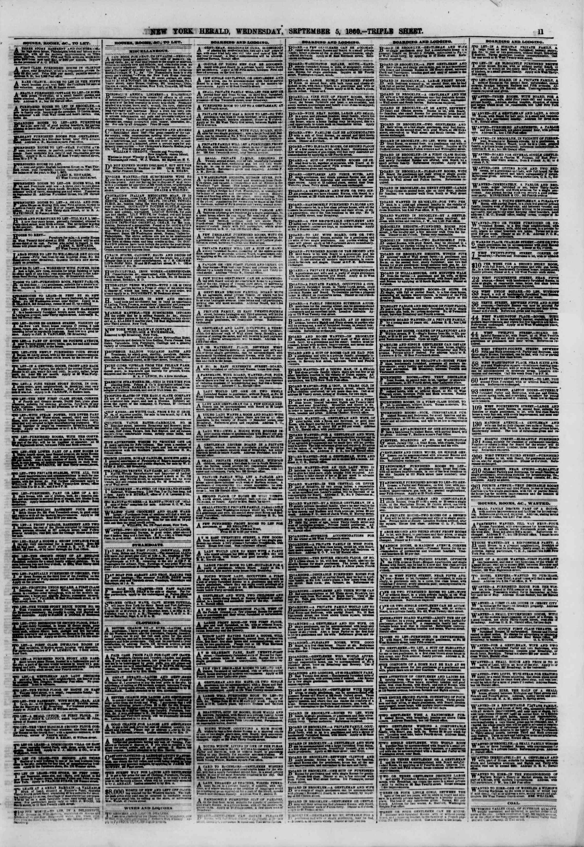 Newspaper of The New York Herald dated September 5, 1860 Page 11