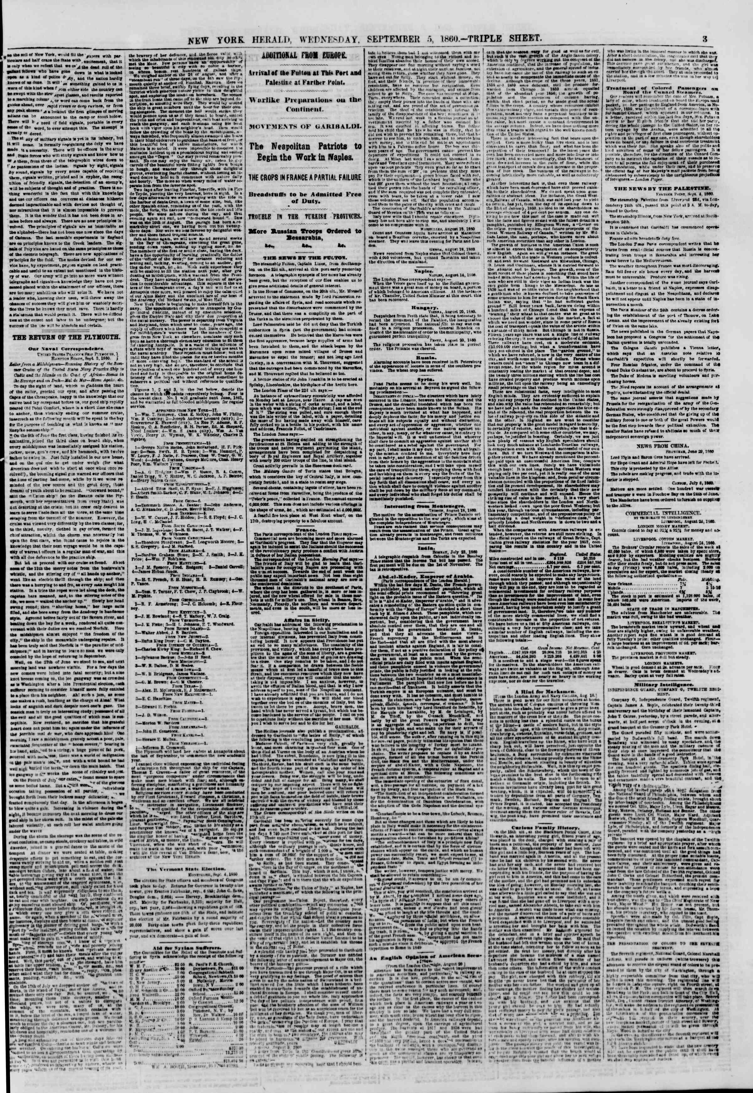 Newspaper of The New York Herald dated September 5, 1860 Page 3