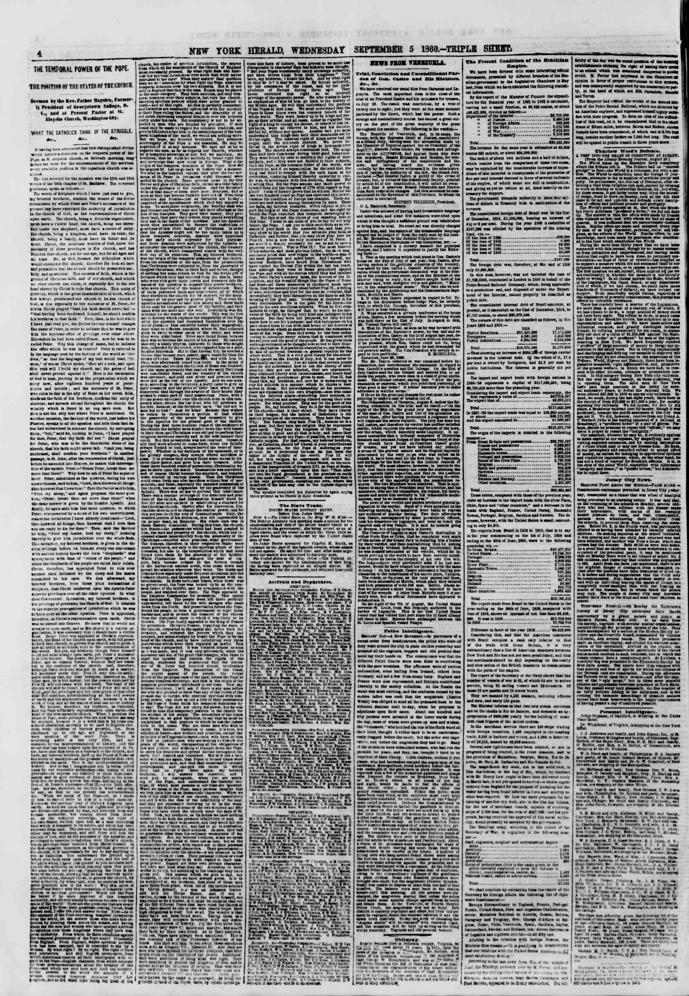 Newspaper of The New York Herald dated September 5, 1860 Page 4