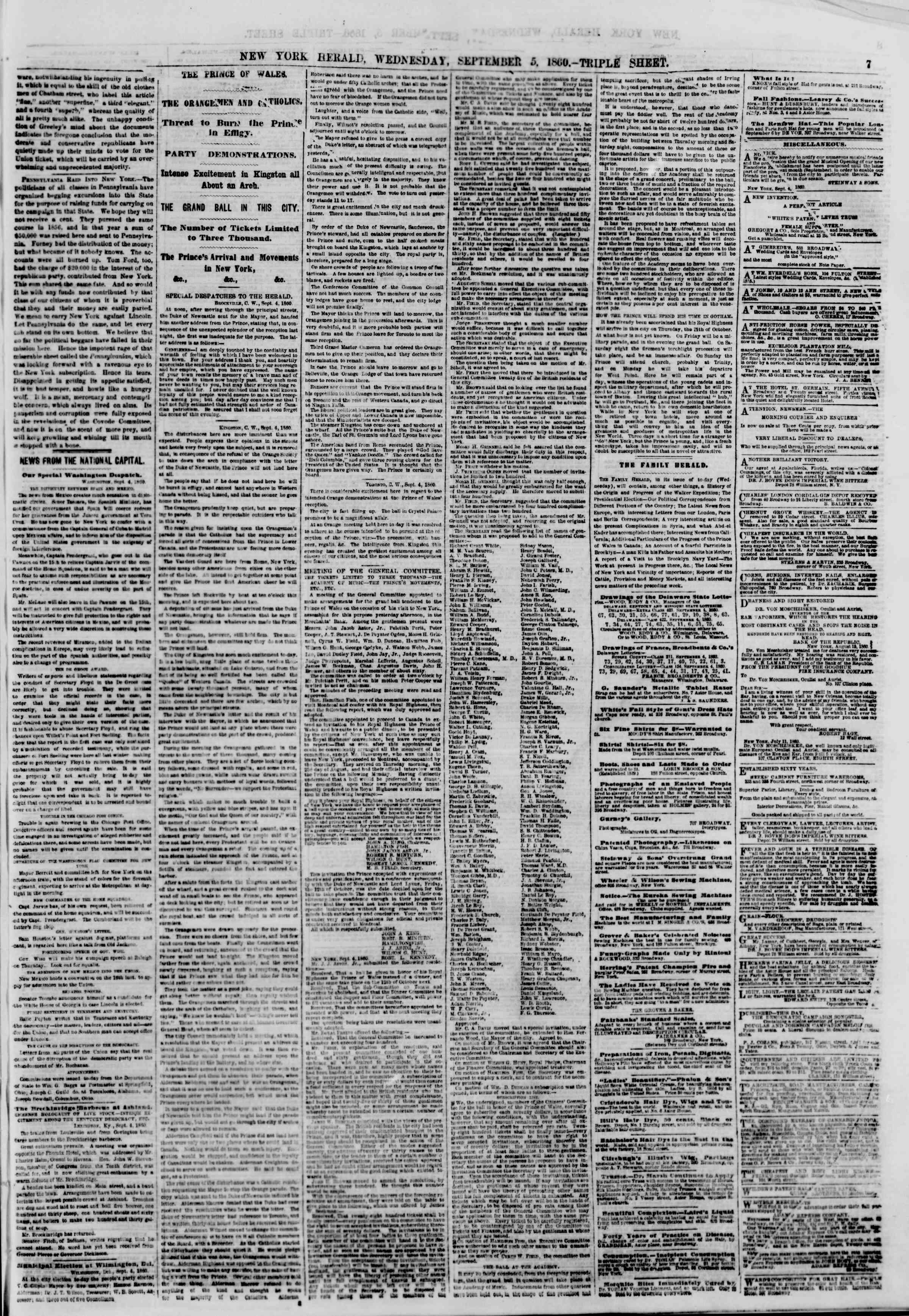 Newspaper of The New York Herald dated September 5, 1860 Page 7