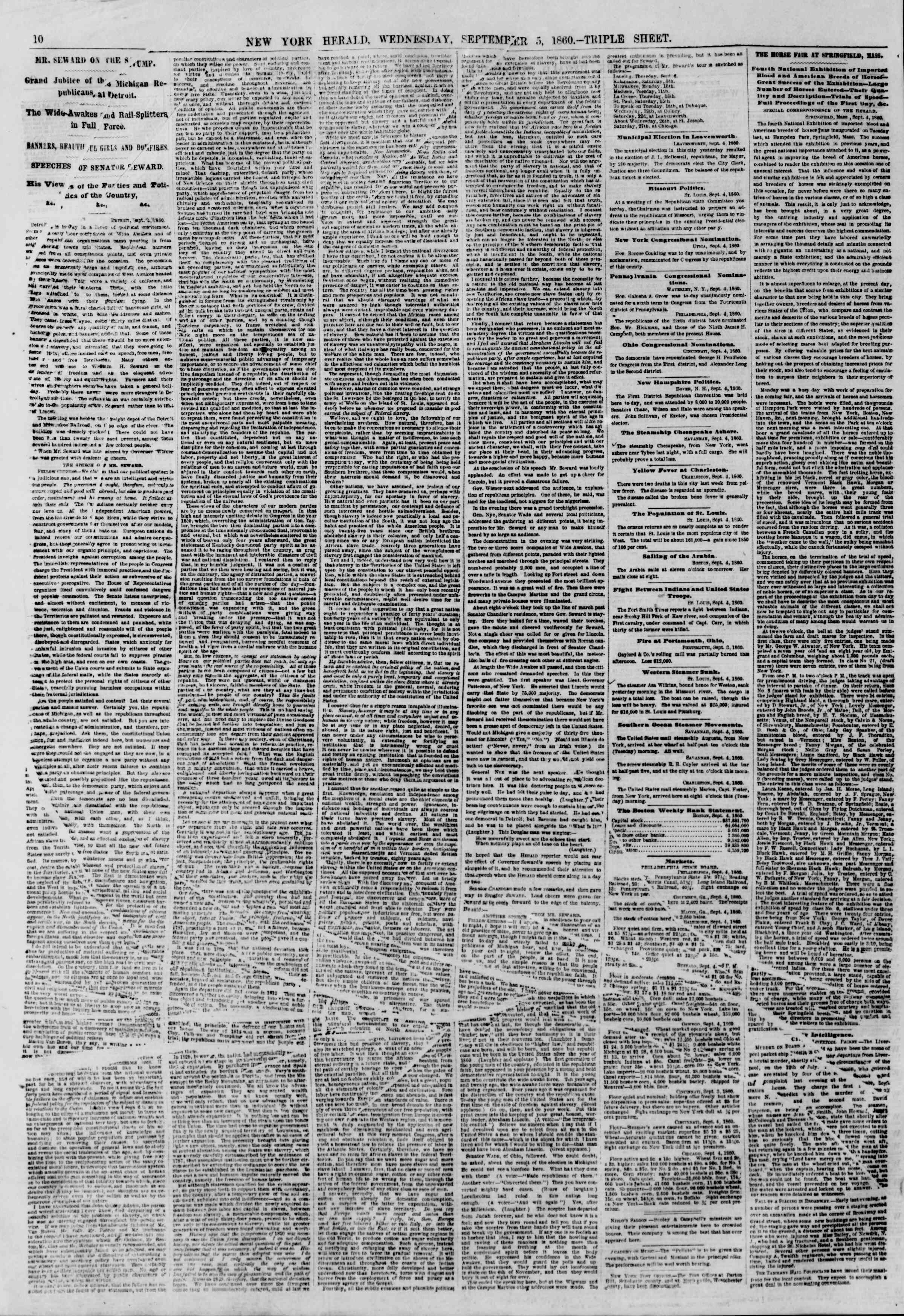 Newspaper of The New York Herald dated September 5, 1860 Page 10