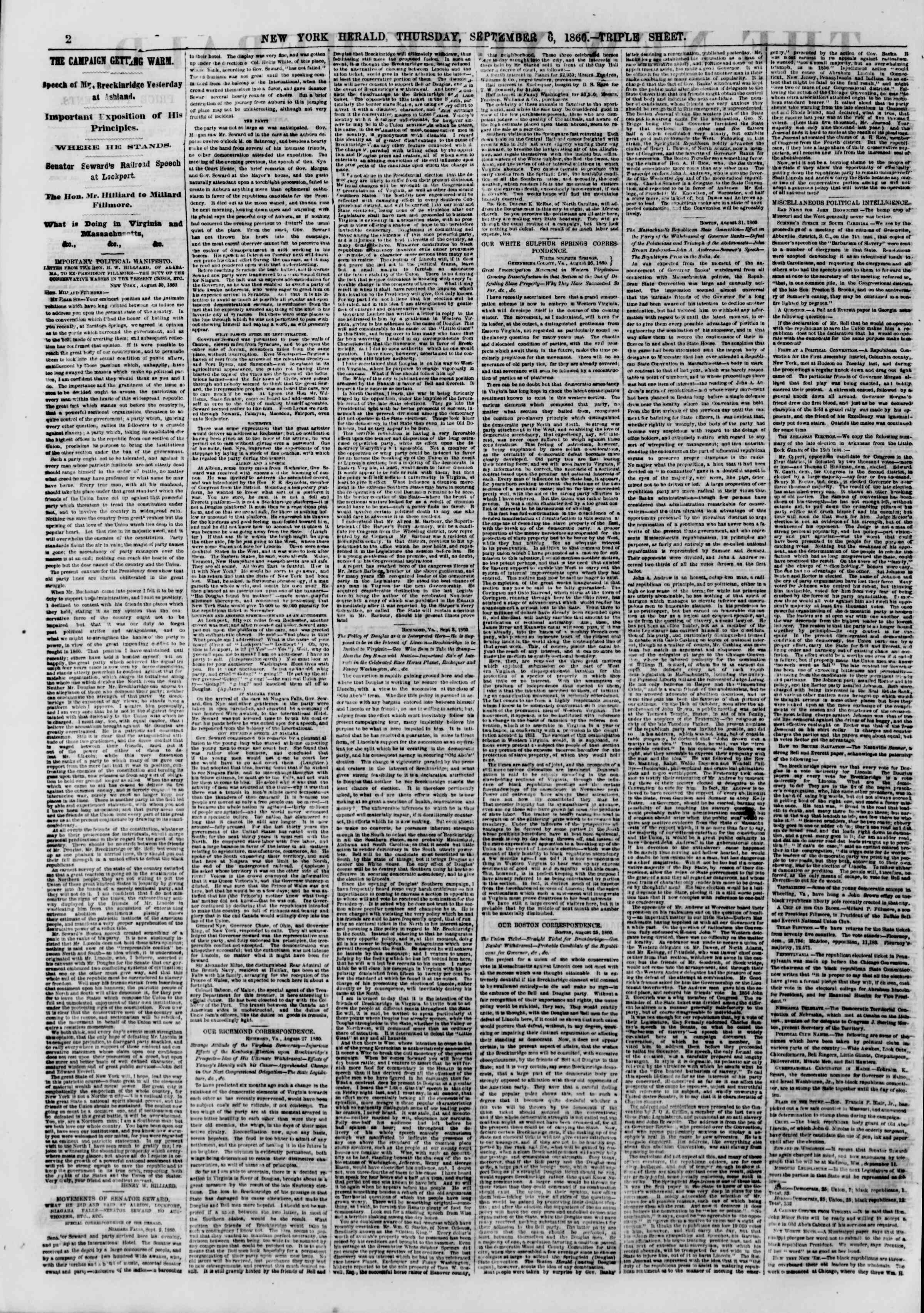 Newspaper of The New York Herald dated September 6, 1860 Page 2