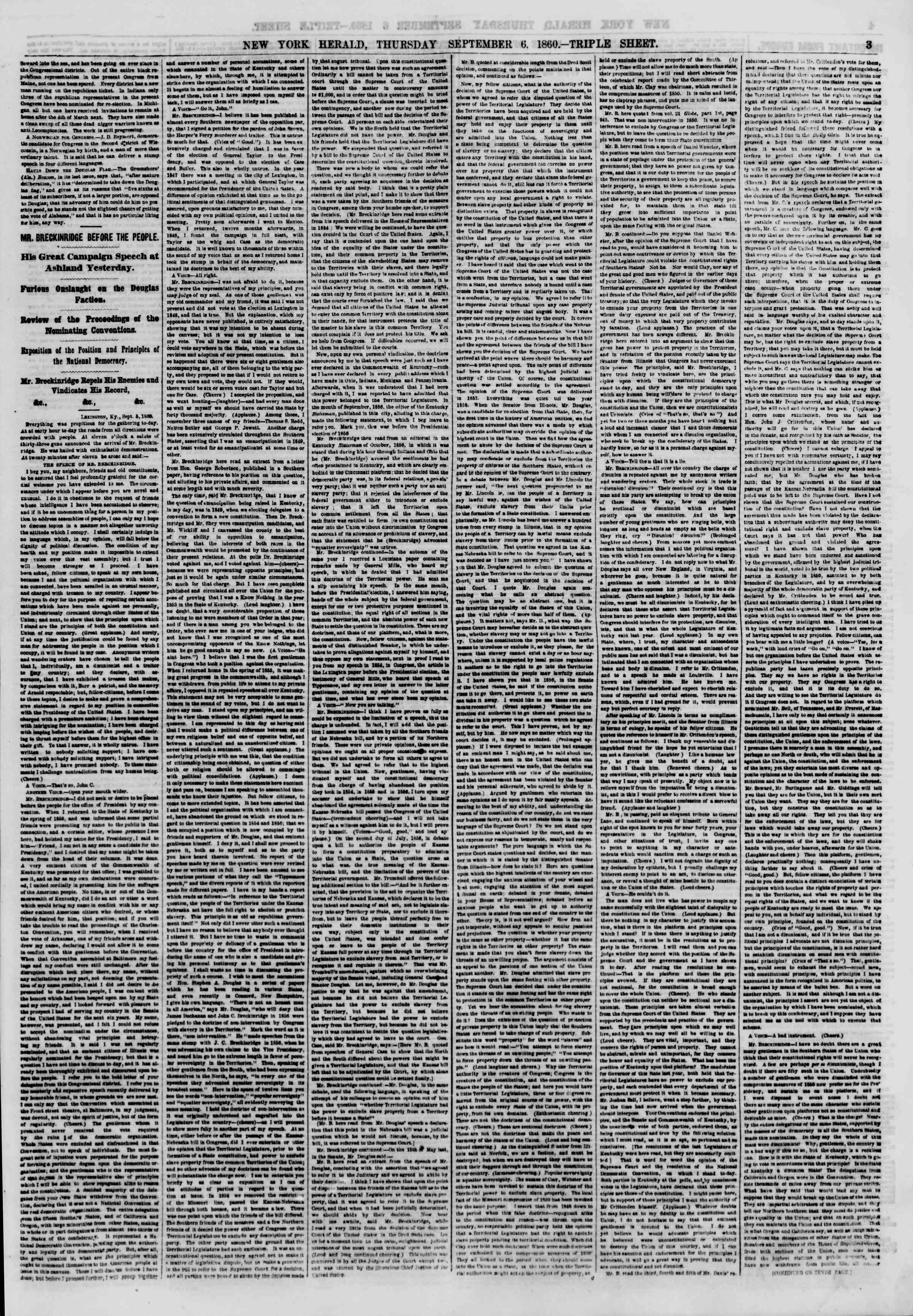 Newspaper of The New York Herald dated September 6, 1860 Page 3