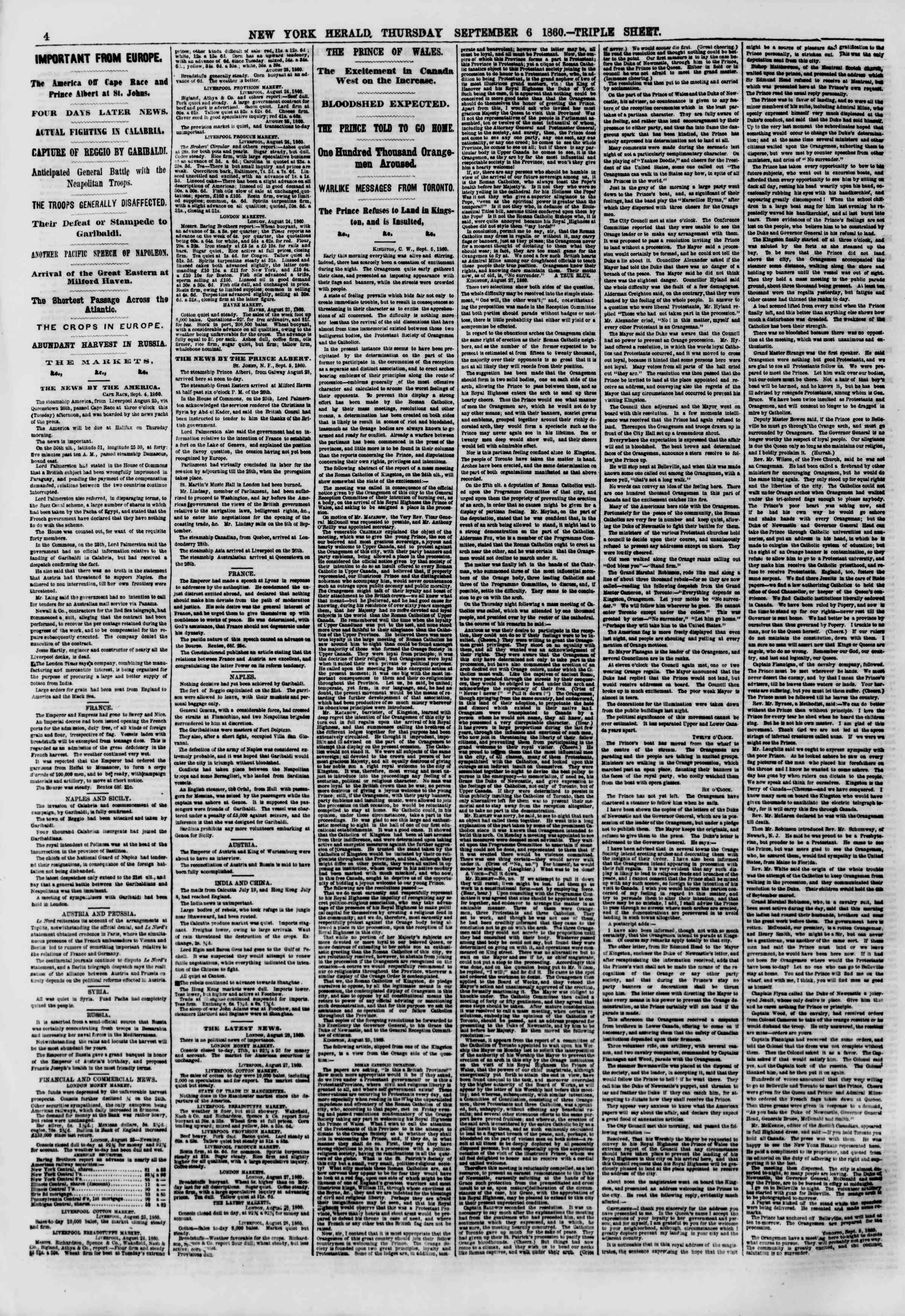 Newspaper of The New York Herald dated September 6, 1860 Page 4