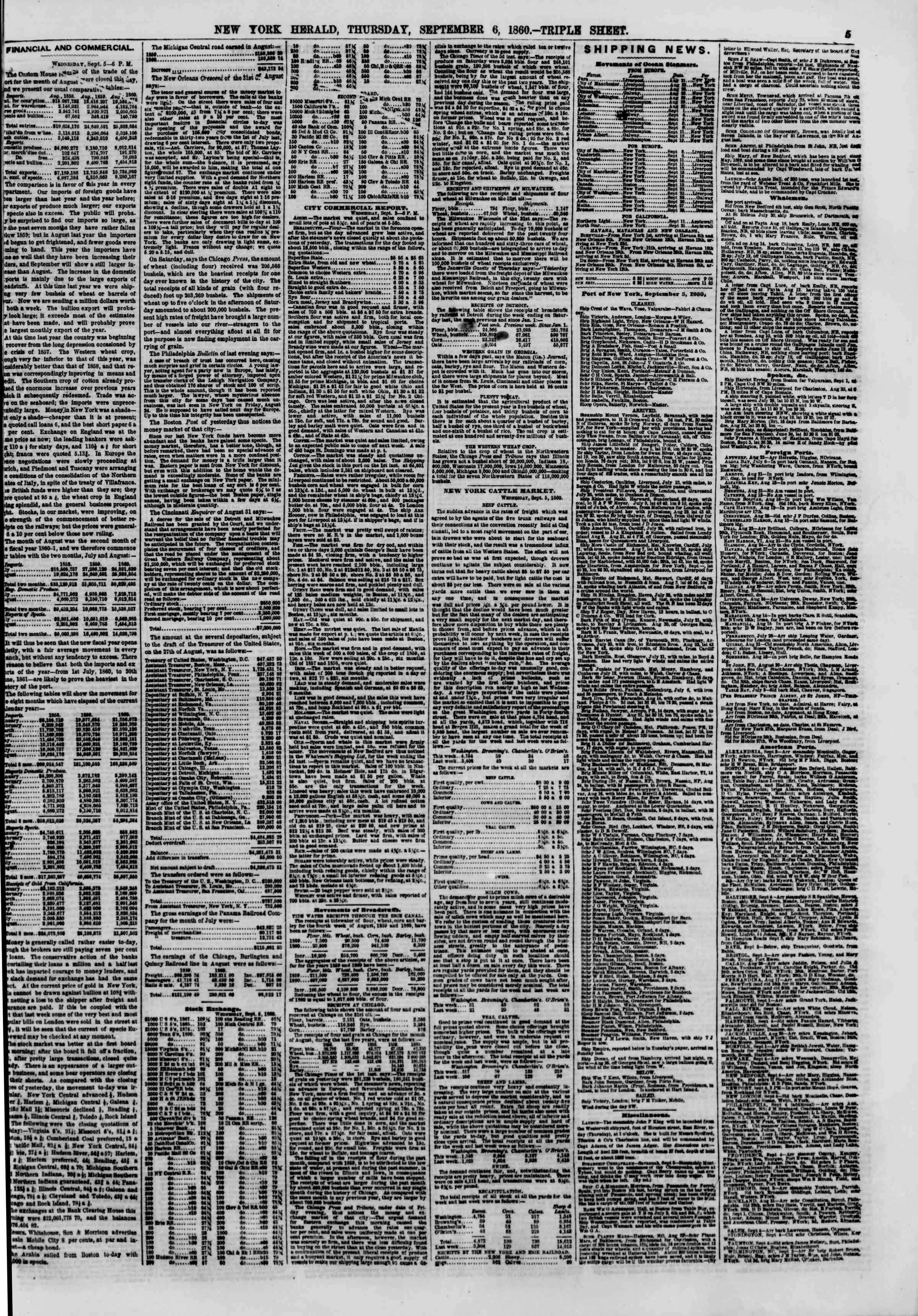 Newspaper of The New York Herald dated September 6, 1860 Page 5