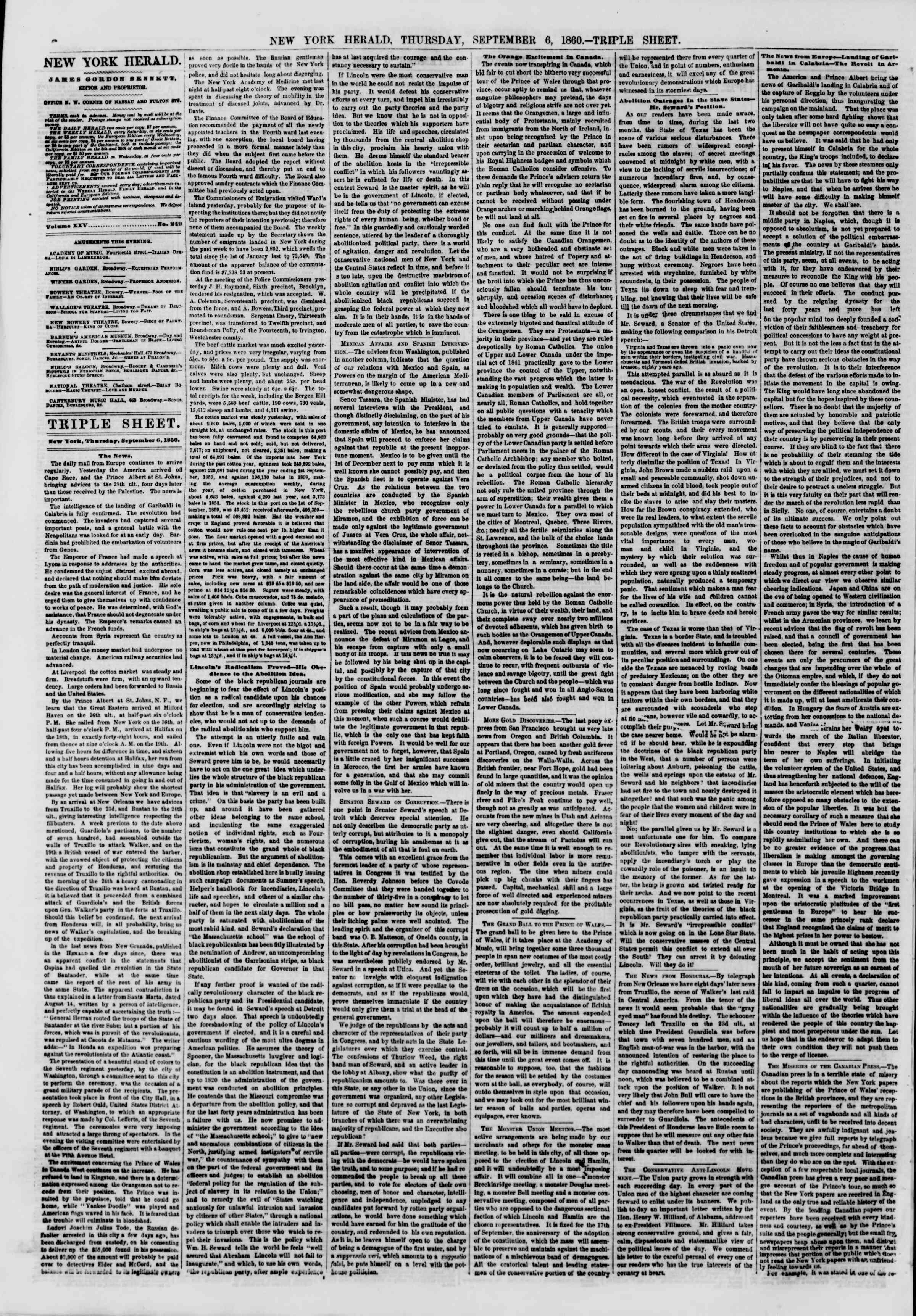 Newspaper of The New York Herald dated September 6, 1860 Page 6