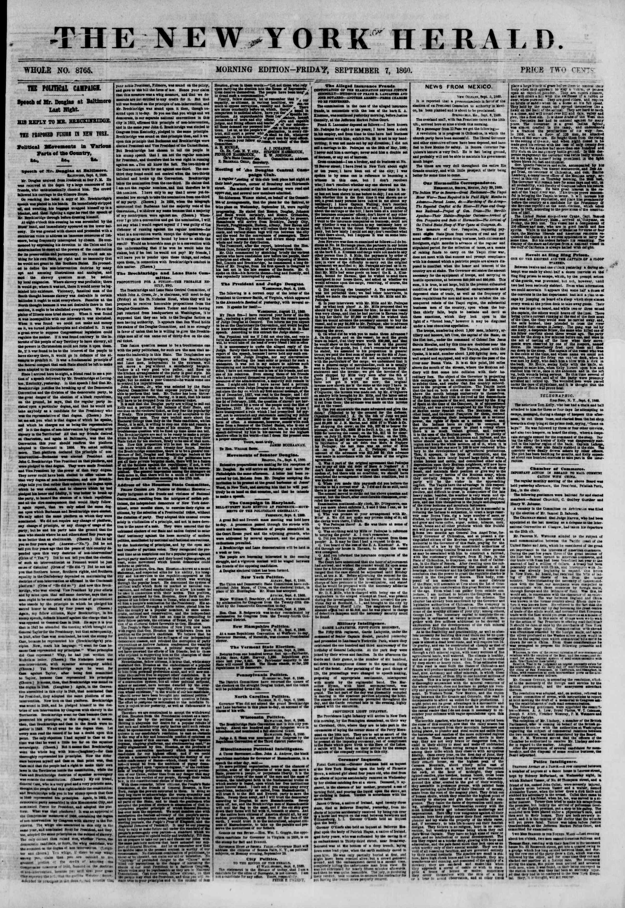 Newspaper of The New York Herald dated September 7, 1860 Page 1