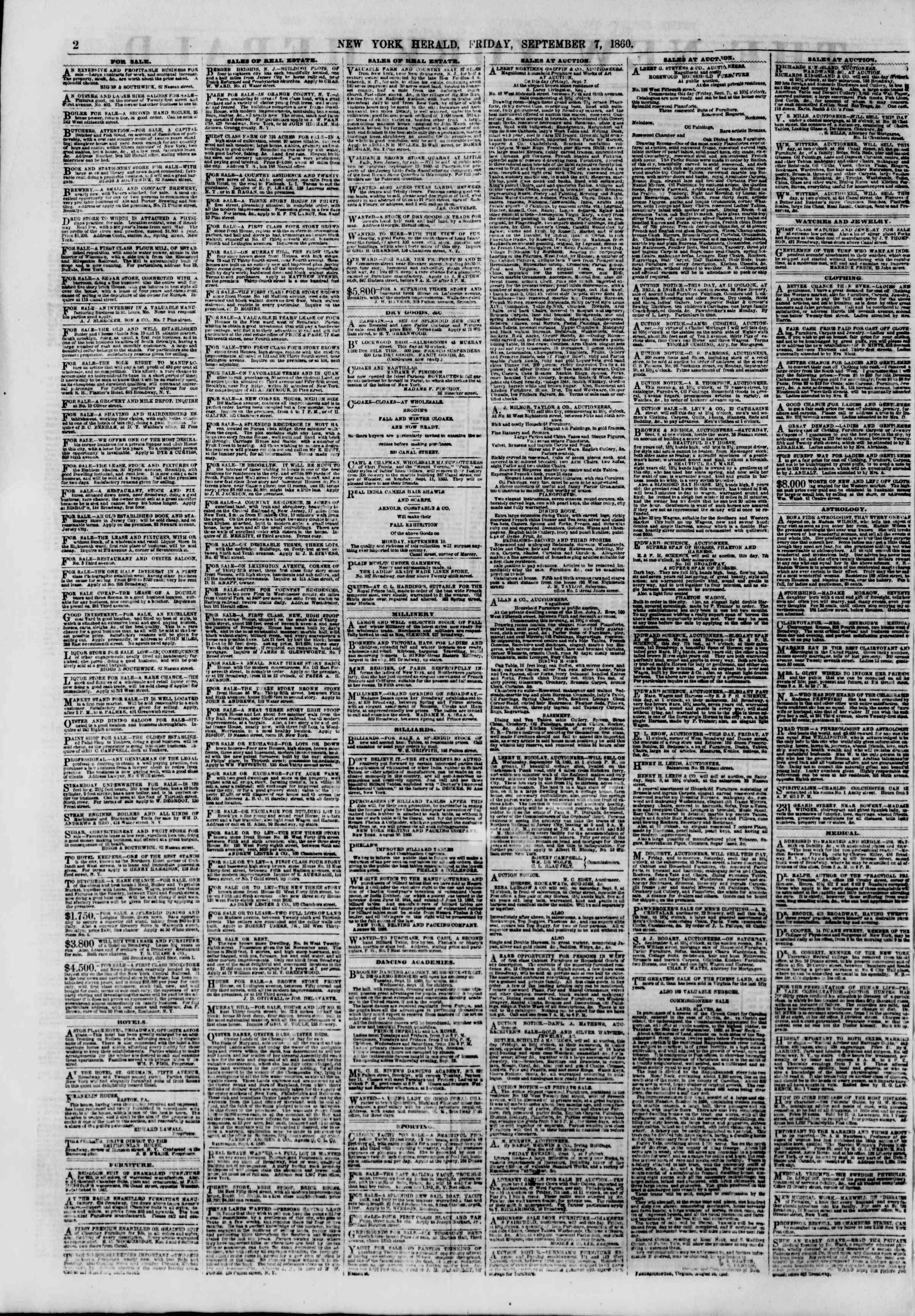 Newspaper of The New York Herald dated 7 Eylül 1860 Page 2