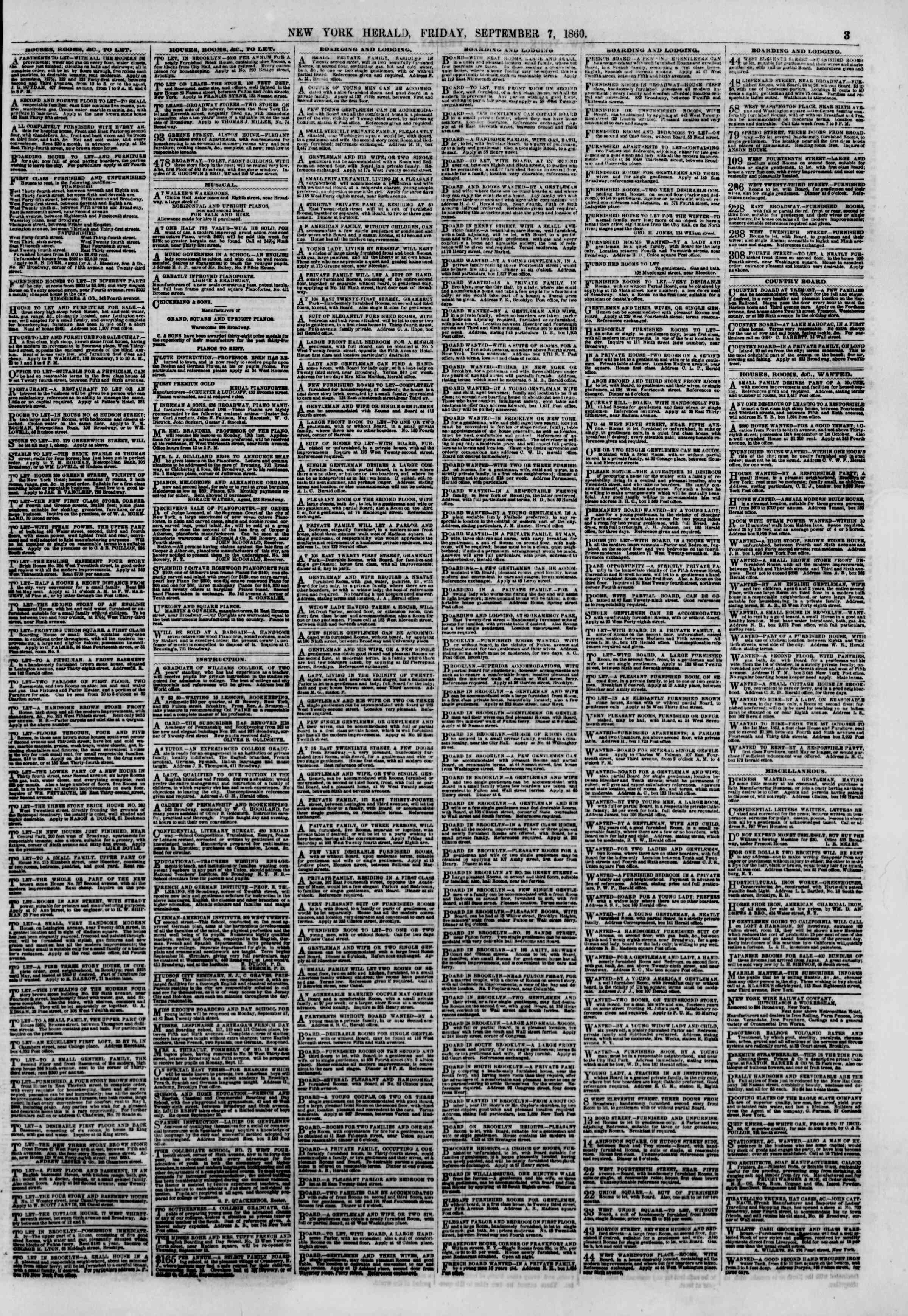 Newspaper of The New York Herald dated September 7, 1860 Page 3