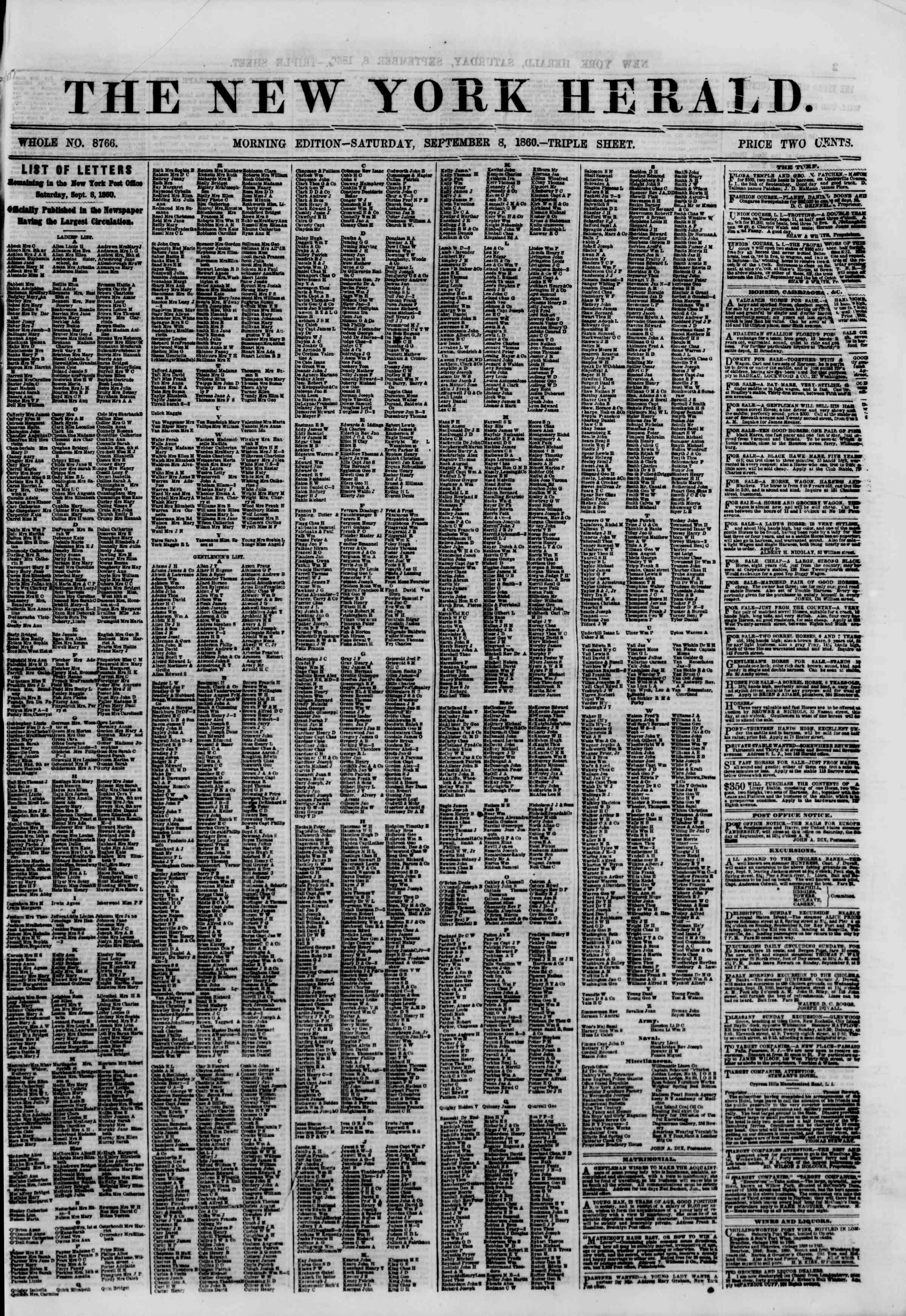 Newspaper of The New York Herald dated September 8, 1860 Page 1