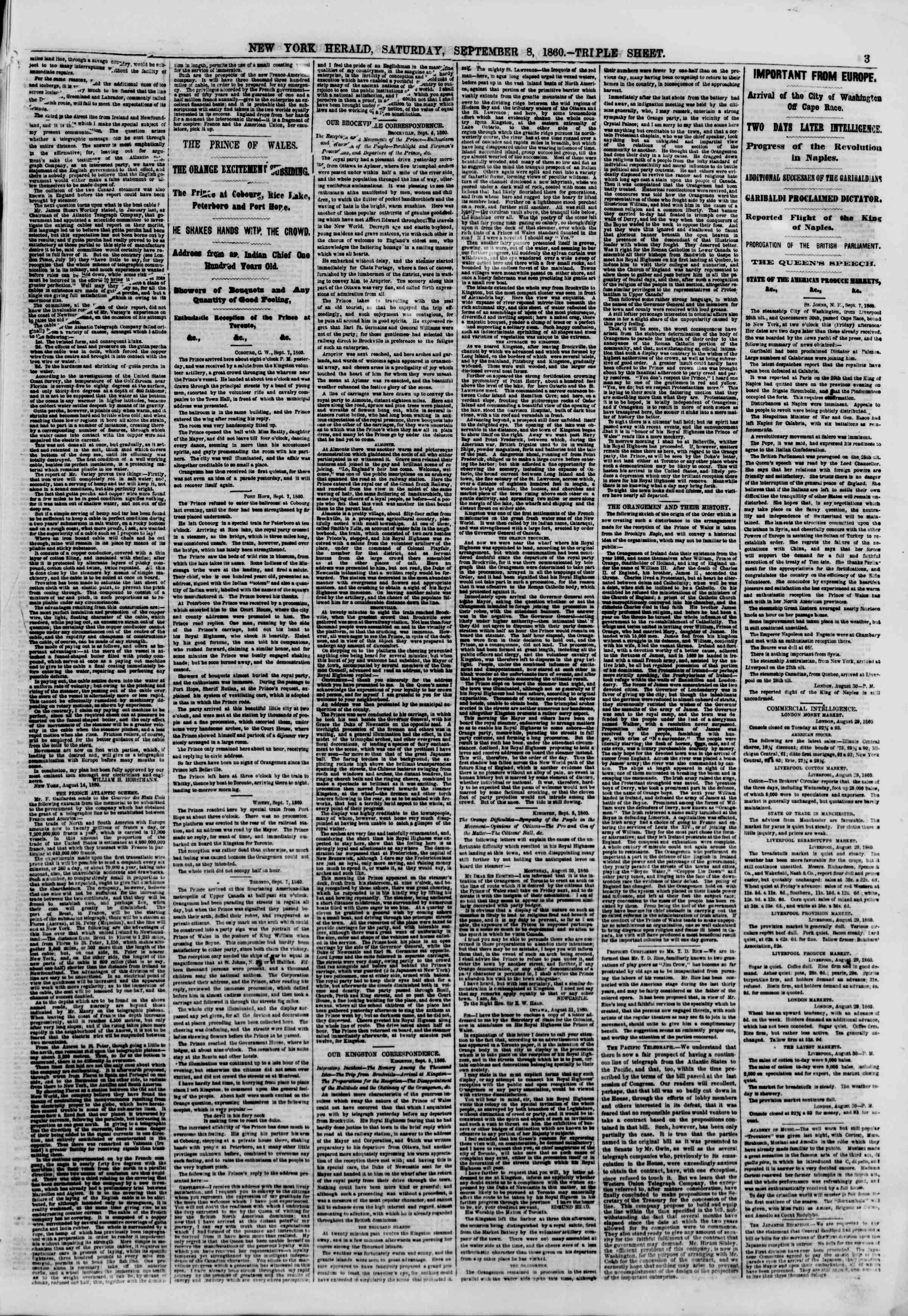 Newspaper of The New York Herald dated September 8, 1860 Page 3