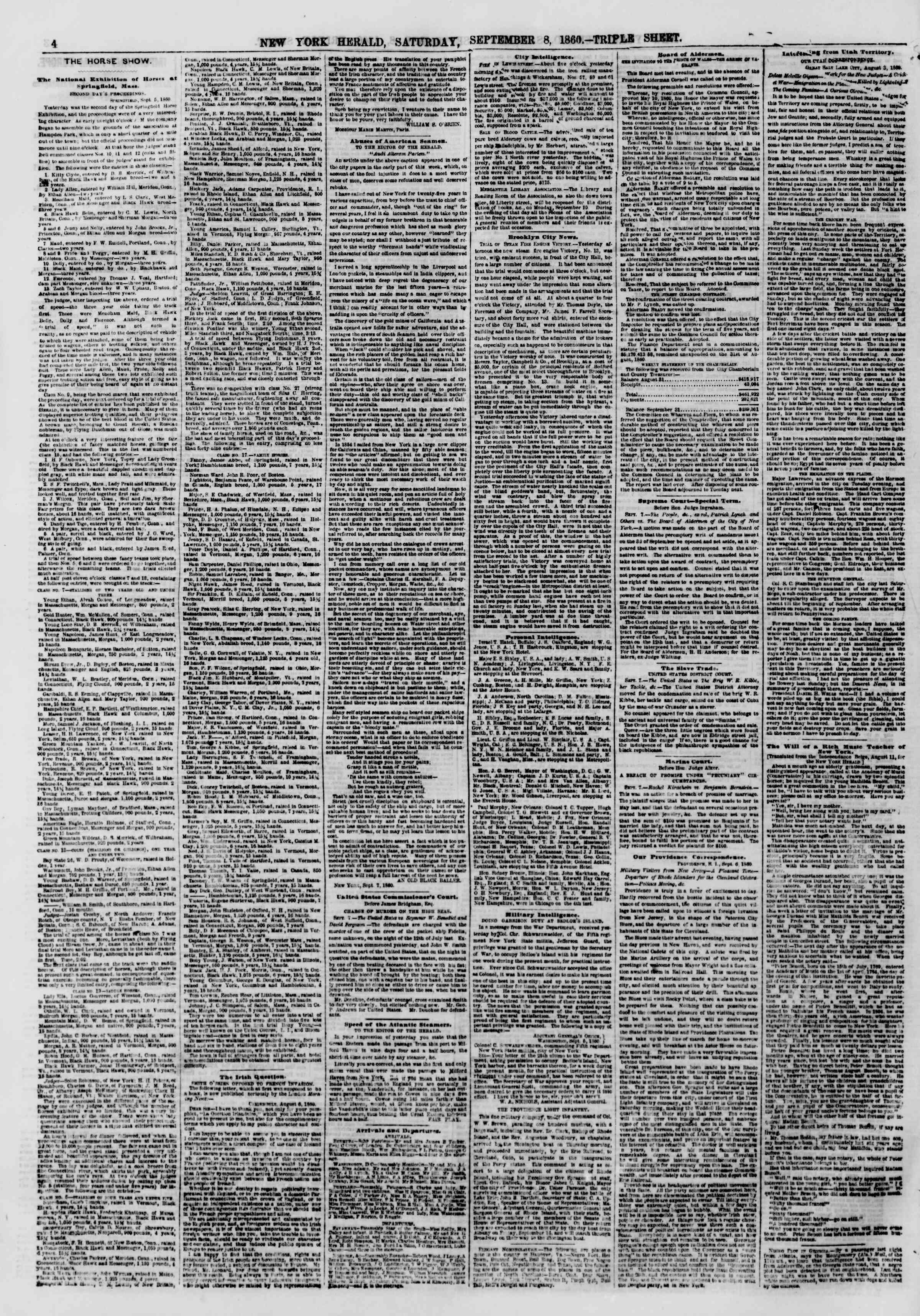 Newspaper of The New York Herald dated September 8, 1860 Page 4