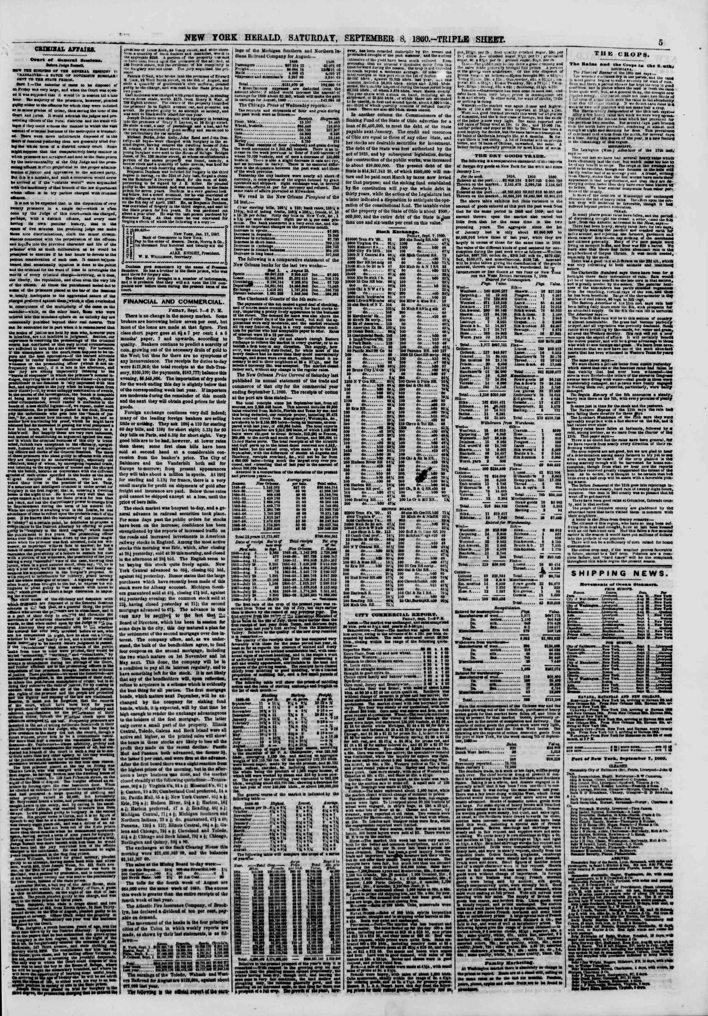 Newspaper of The New York Herald dated September 8, 1860 Page 5