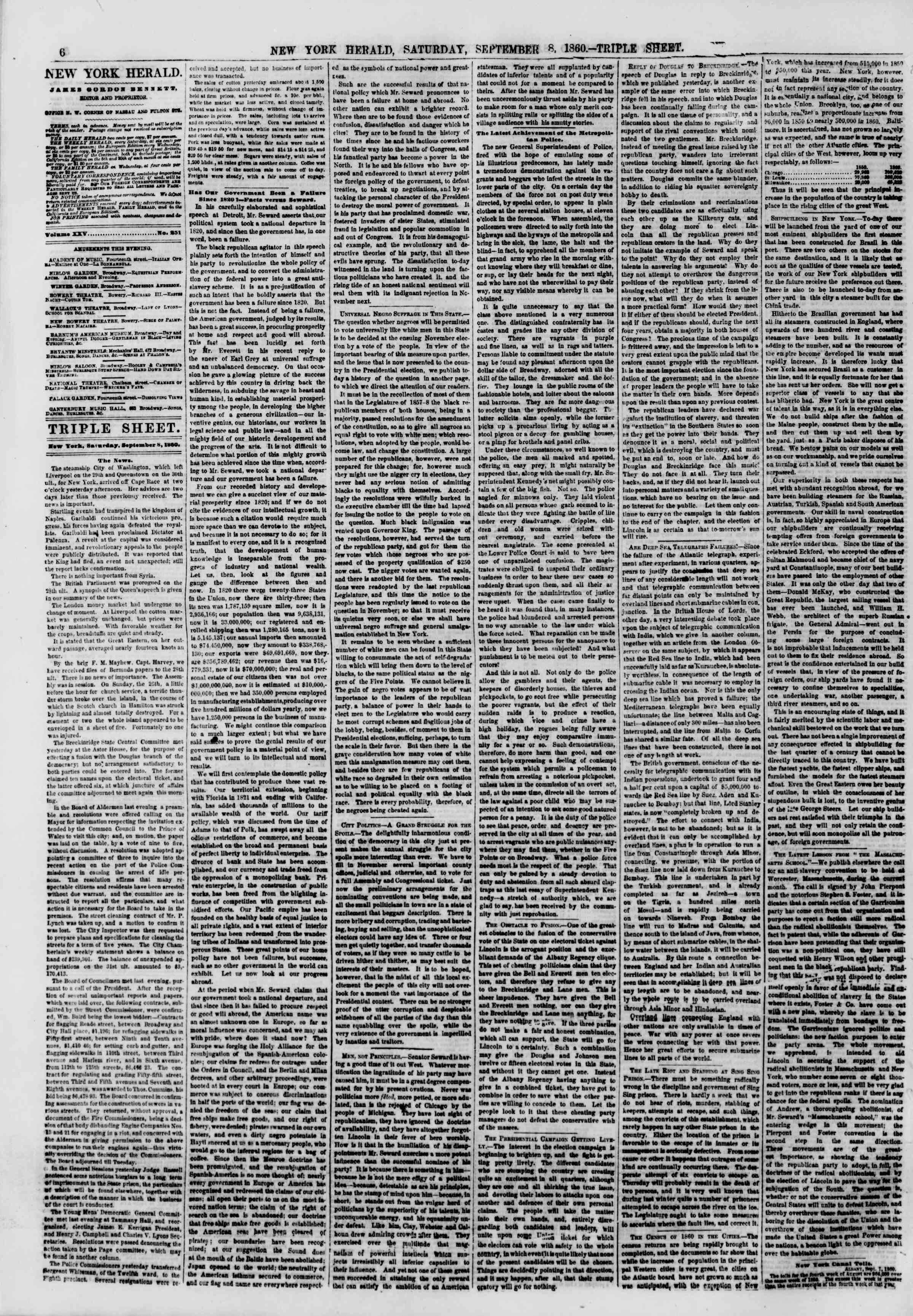 Newspaper of The New York Herald dated September 8, 1860 Page 6
