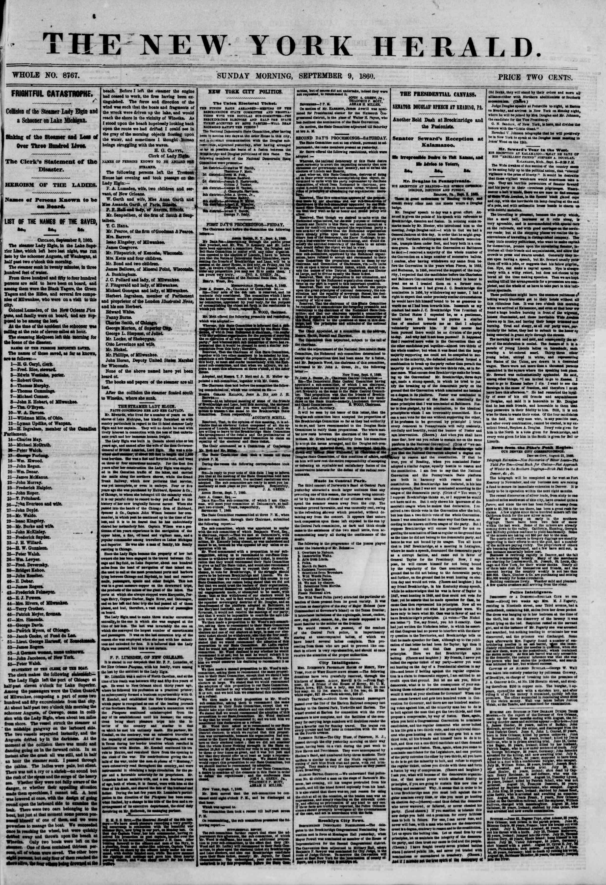 Newspaper of The New York Herald dated September 9, 1860 Page 1