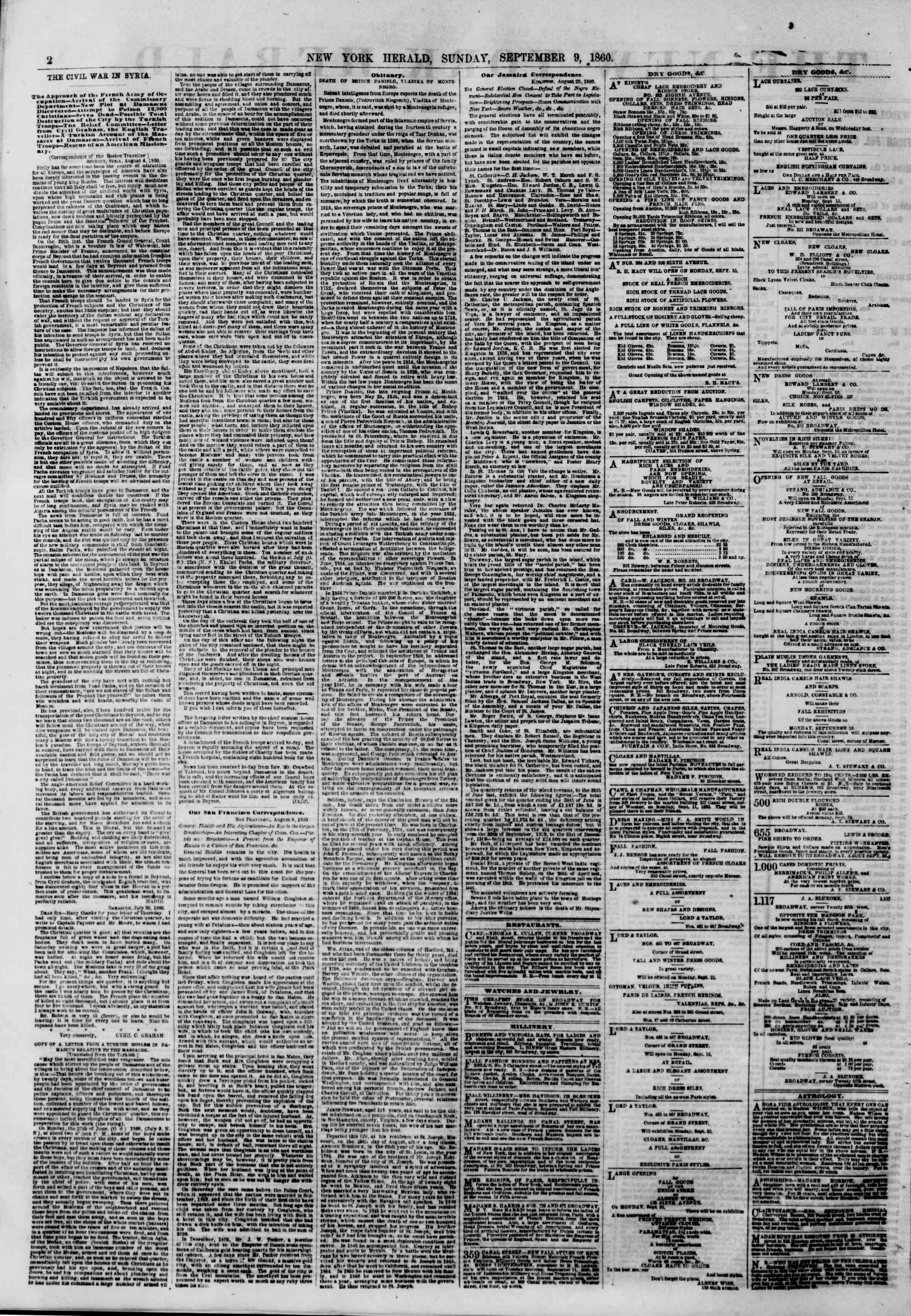 Newspaper of The New York Herald dated September 9, 1860 Page 2