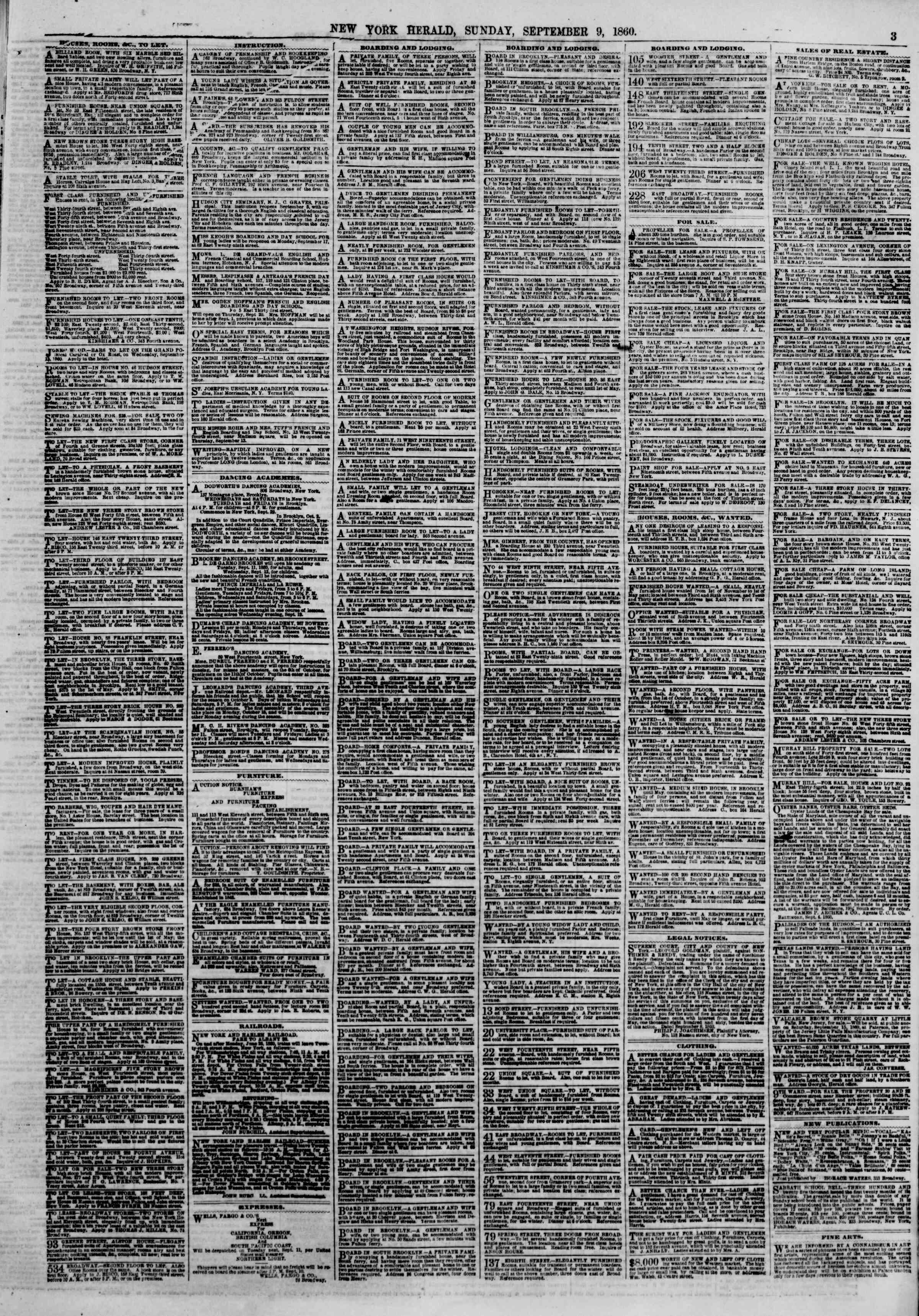 Newspaper of The New York Herald dated September 9, 1860 Page 3